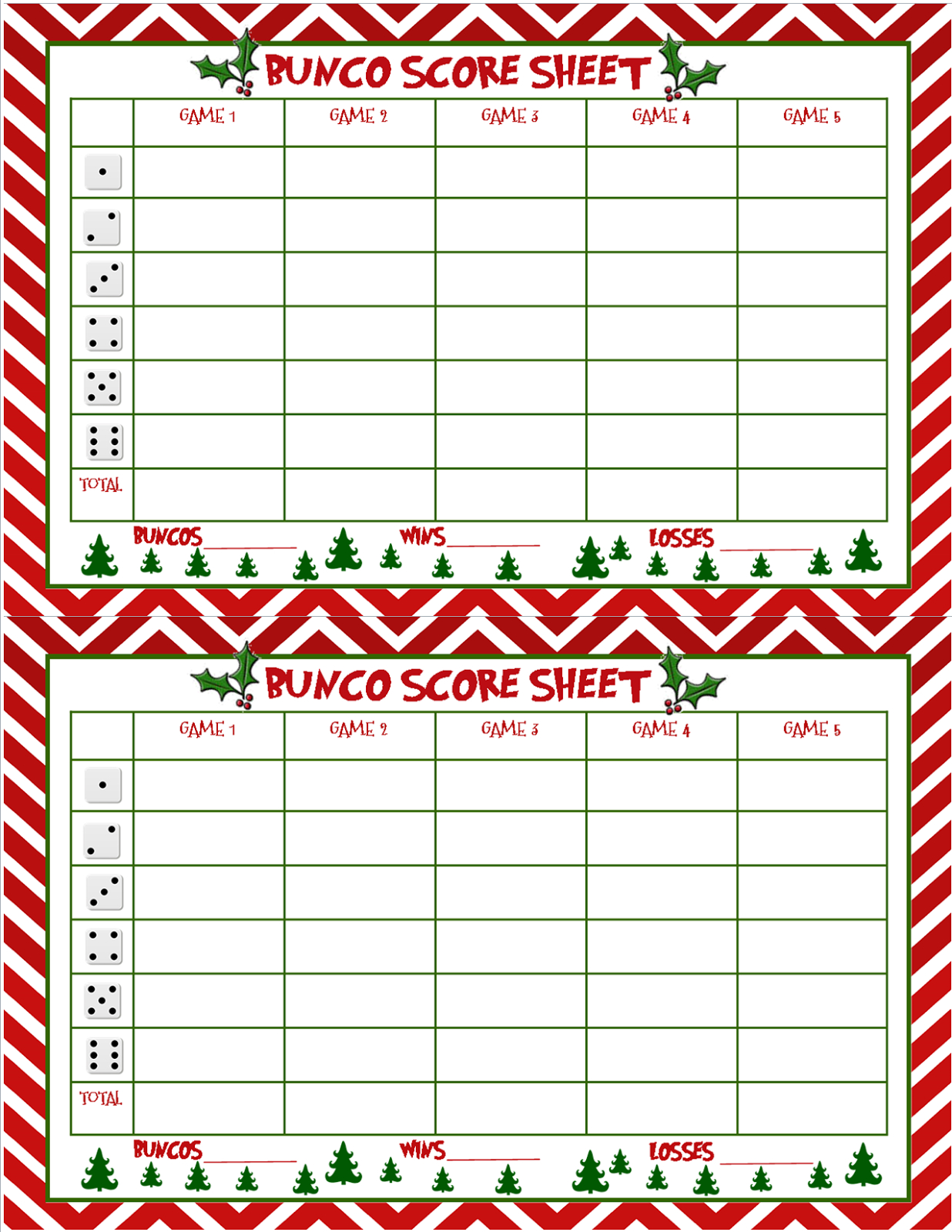 Christmas Bunco Score Sheets Free | Bunco | Bunco Score Sheets - Free Printable Bunco Game Sheets