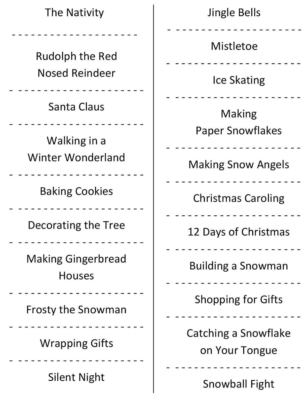 Christmas Charades (Free Printable Party Game) | Christmas | Daily - Holiday Office Party Games Free Printable