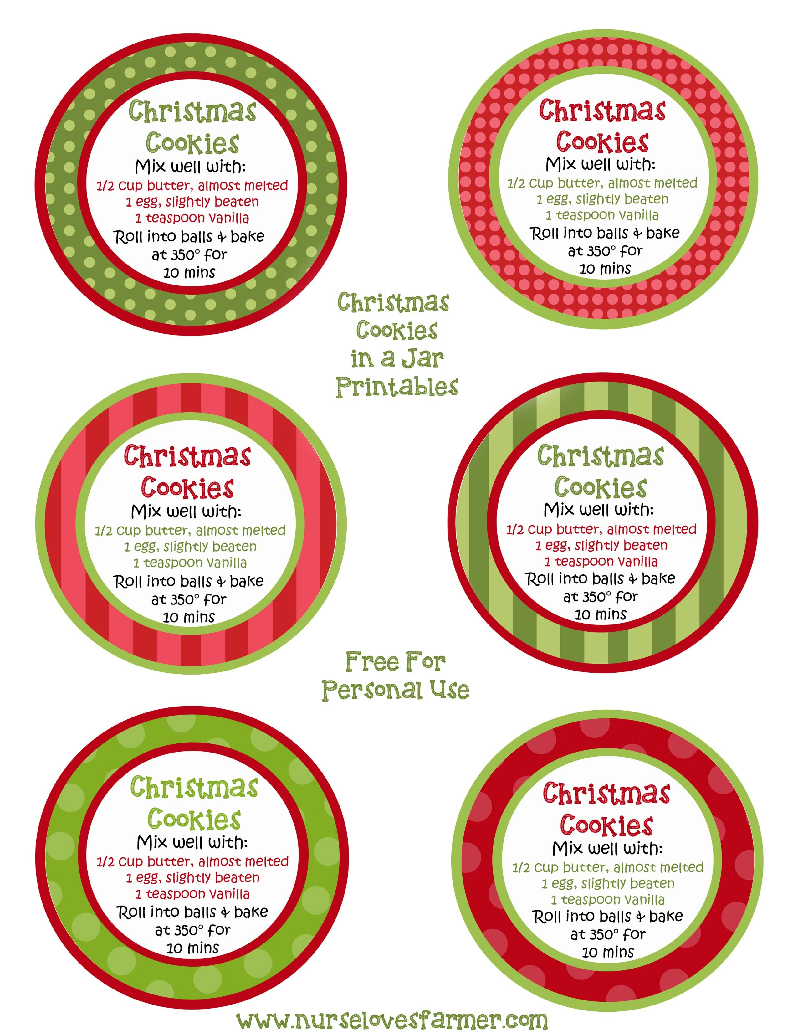 Christmas Cookies In A Jar | Recipe | Canning | Christmas Cookie - Free Printable Jar Labels Christmas