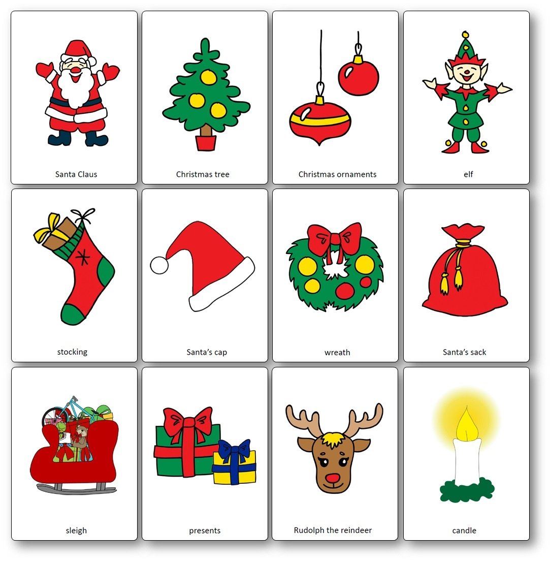 Christmas Flashcards - Free Printable Flashcards To Download - Speak - Free Printable Xmas Cards Download