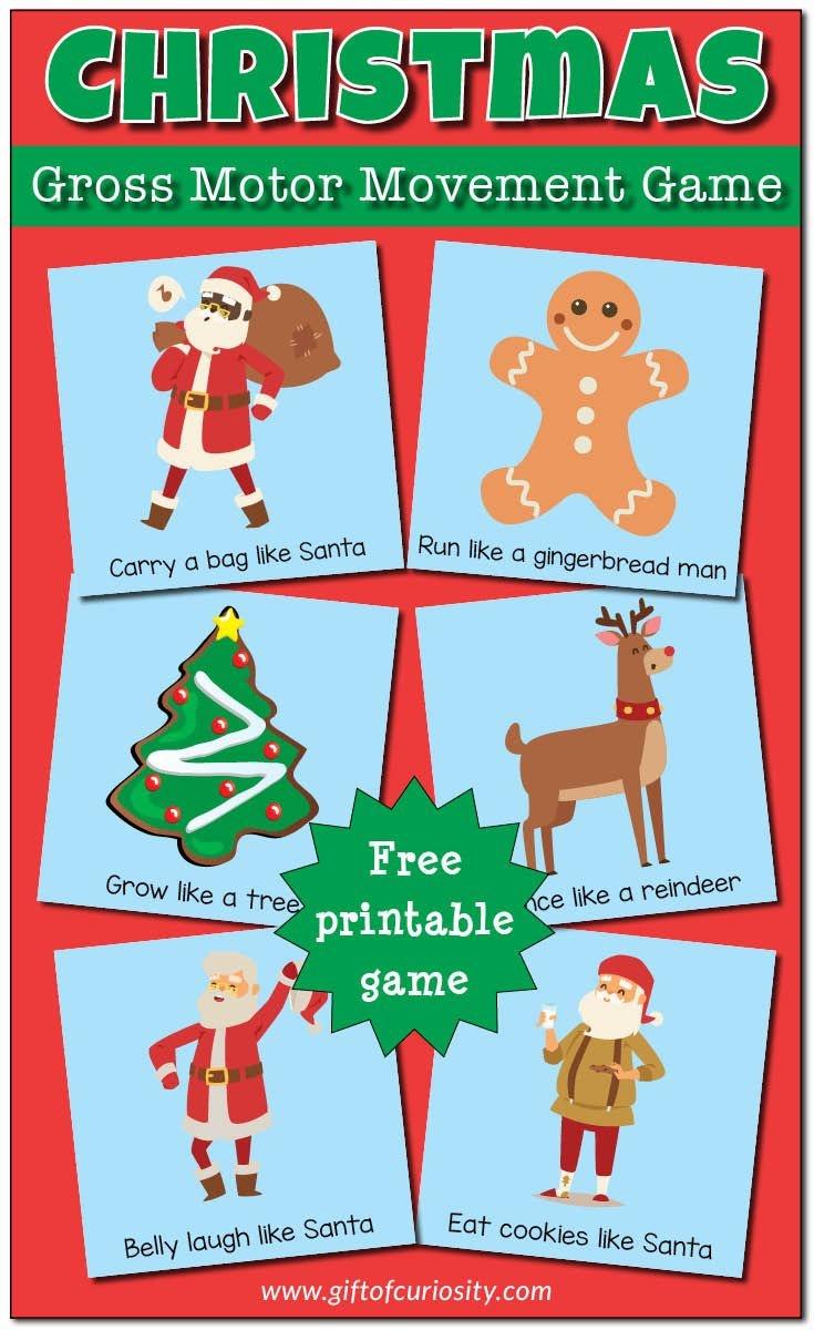 Christmas Gross Motor Movement Game {Free Printable} | Free - Free Printable Christmas Games For Preschoolers