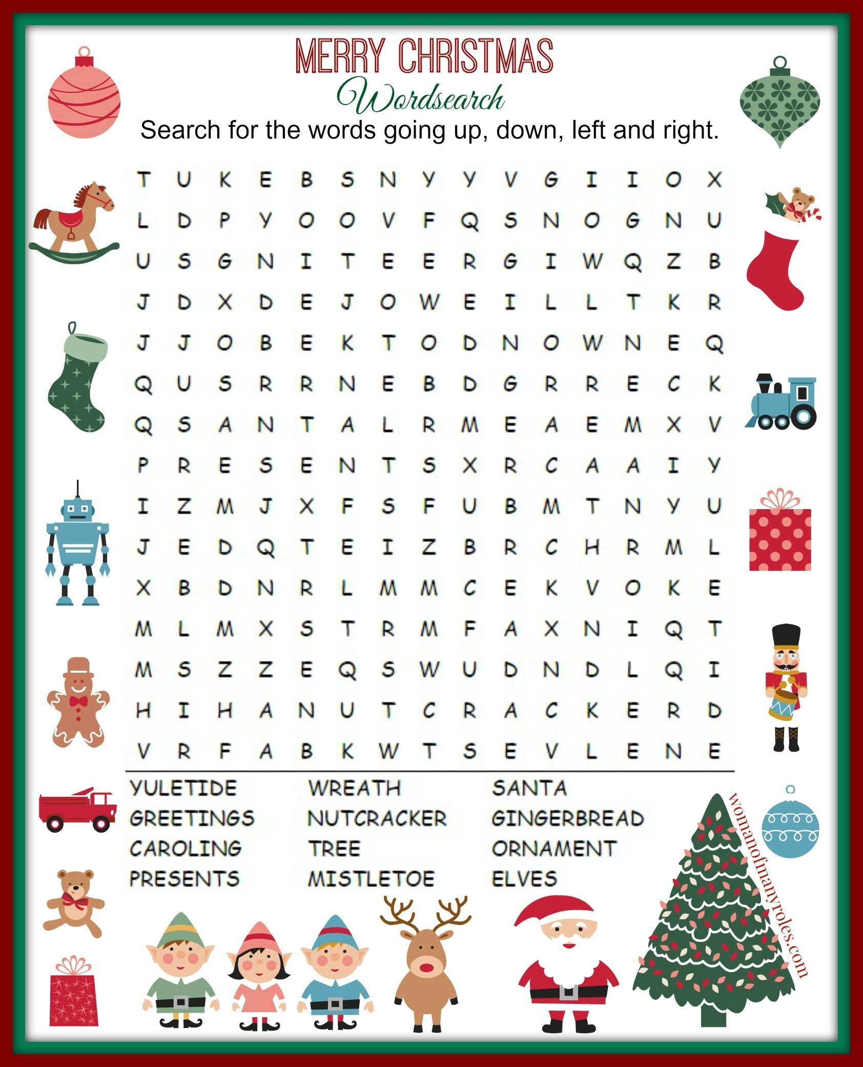 Christmas Word Search Printable : Woman Of Many Roles - Free Printable Christmas Word Search