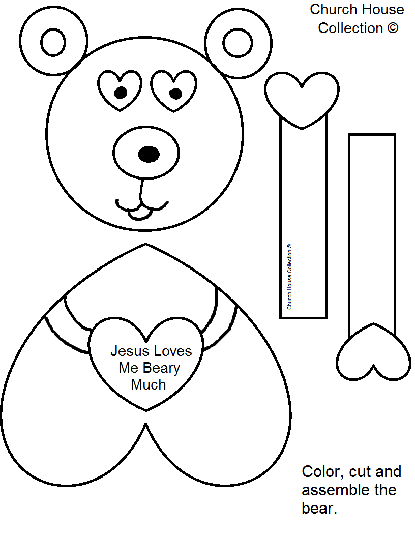 "Church House Collection Blog: ""jesus Loves Me Beary Much - Free Printable Sunday School Crafts"
