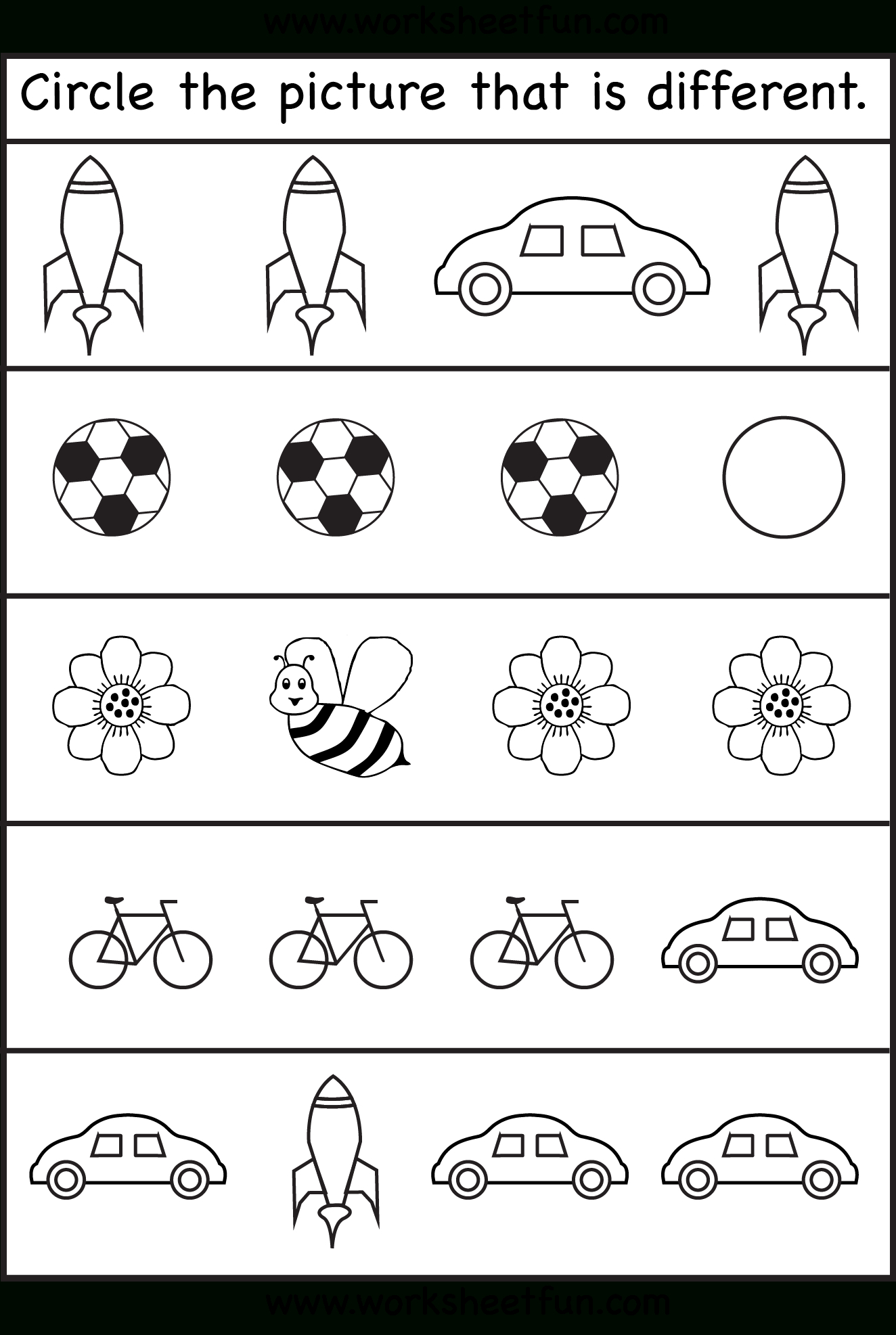 Circle The Picture That Is Different - 4 Worksheets | Preschool Work - Toddler Learning Activities Printable Free