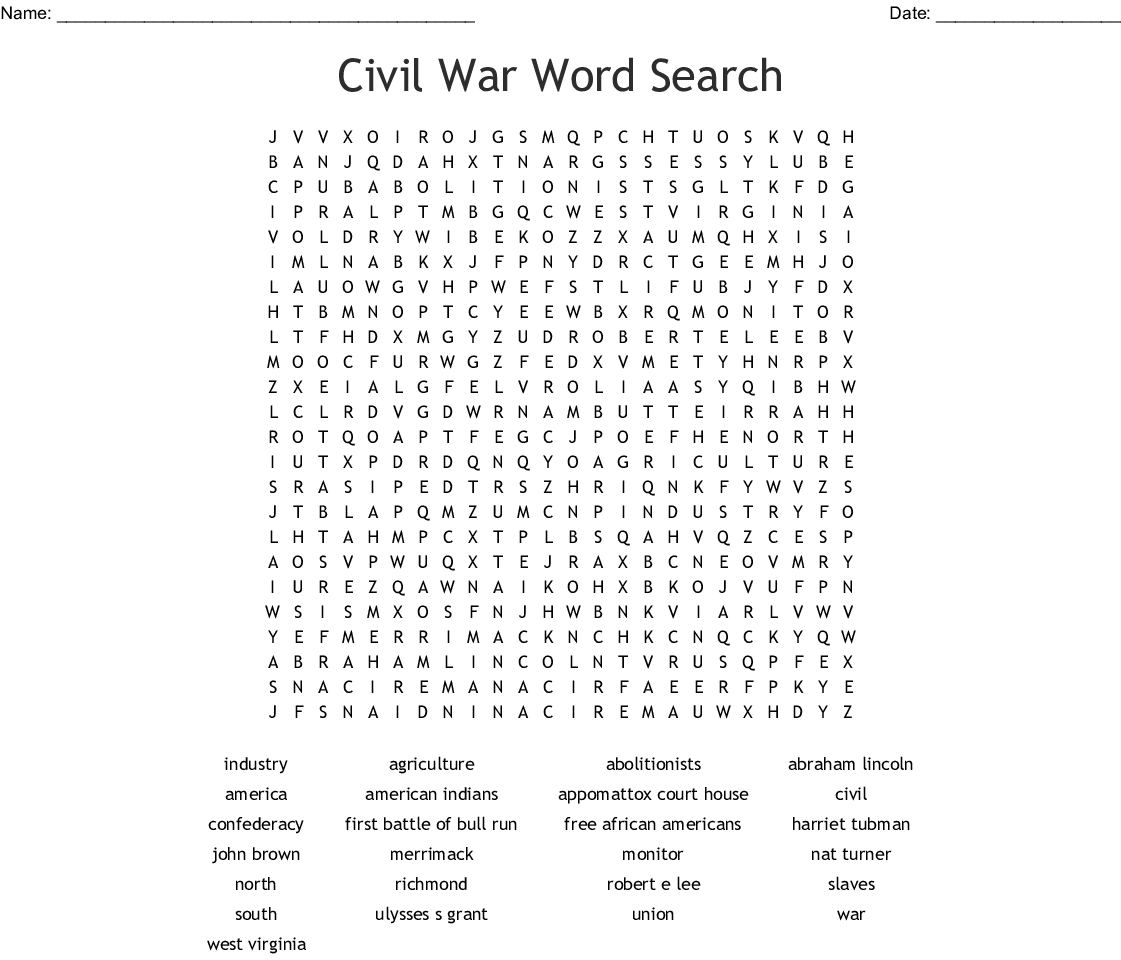Civil War Word Search - Wordmint - Free Printable Black History Month Word Search