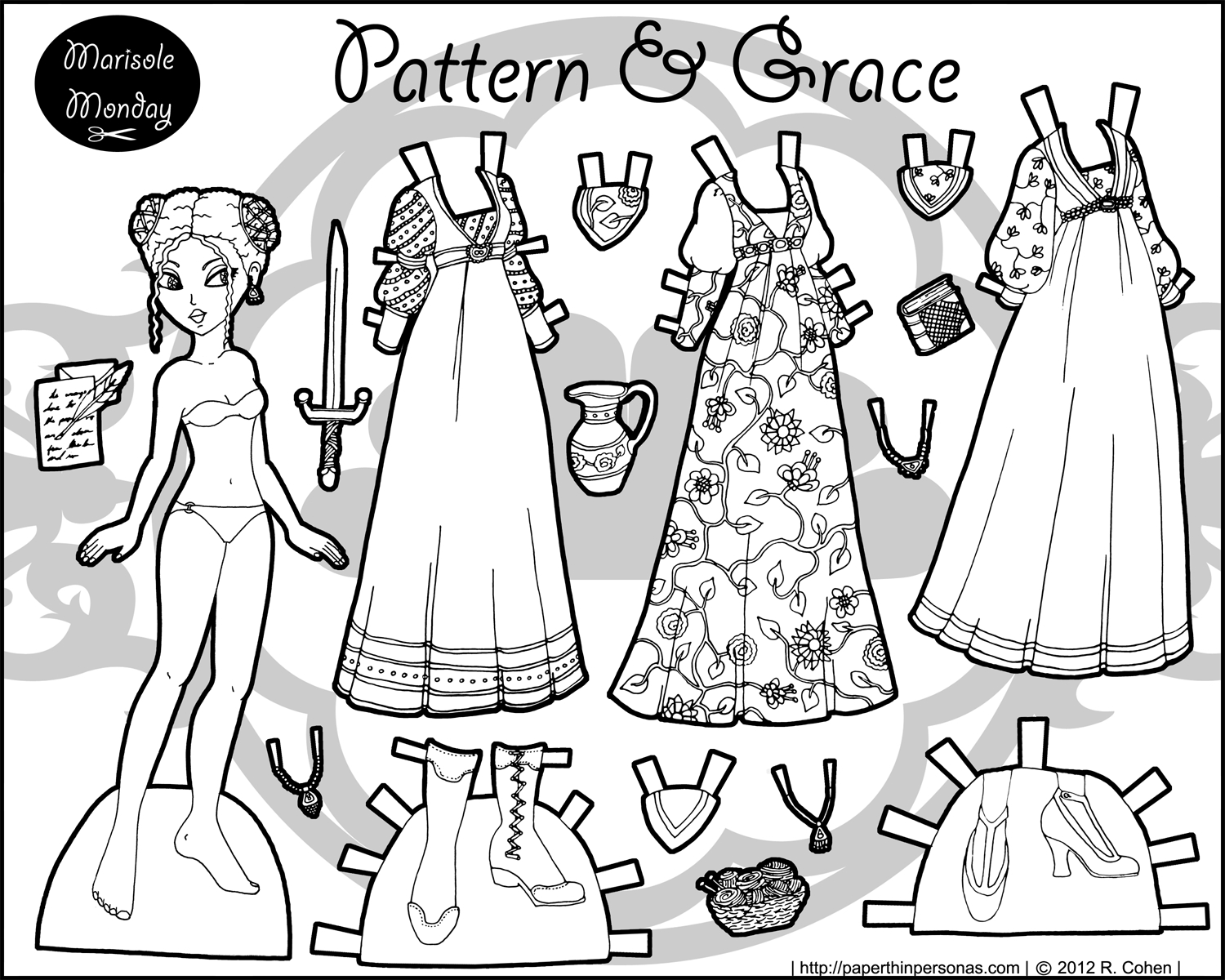 Civll War Printable Paper Doll- Marisole Monday | Coloring! | Paper - Medieval Paper Dolls Free Printable