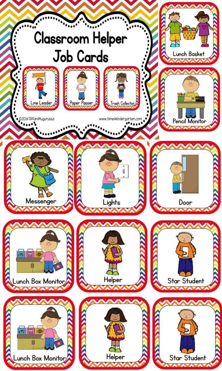 Classroom Helper And Job Cards Rainbow Chevron | Kinderland - Free Printable Classroom Helper Signs