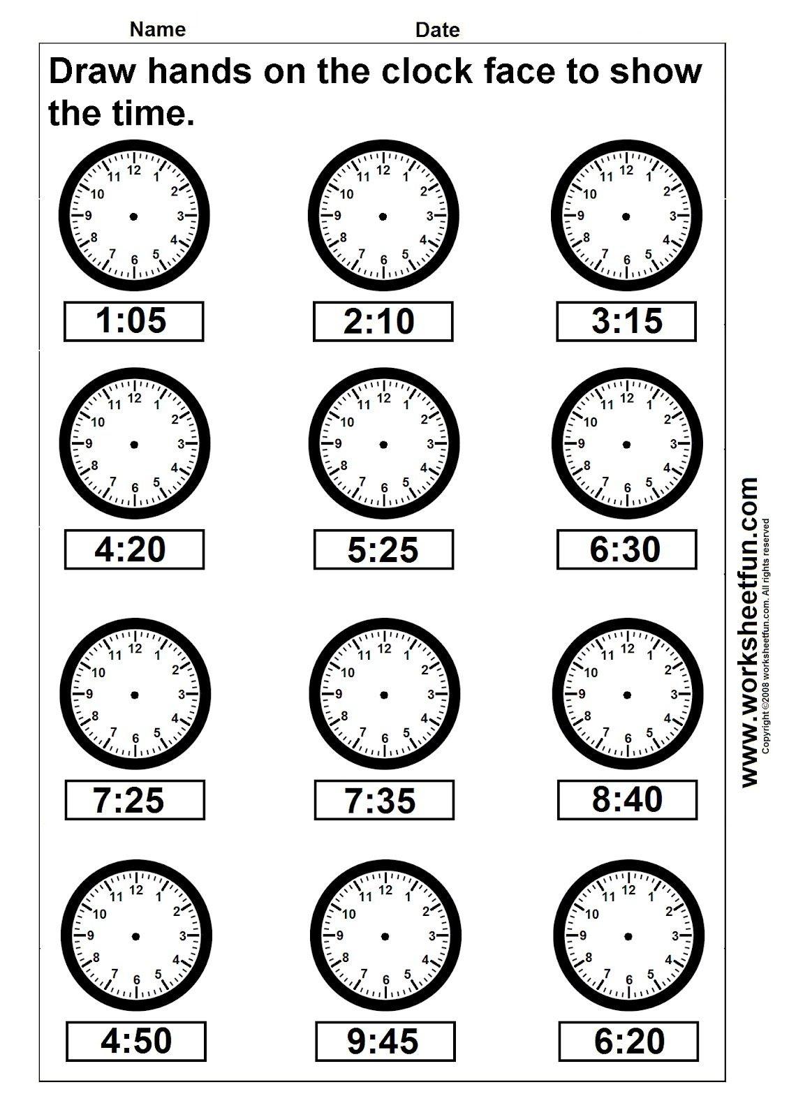 Clock Telling Time Worksheet Printable   Worksheetfun - Free - Free Printable Telling Time Worksheets