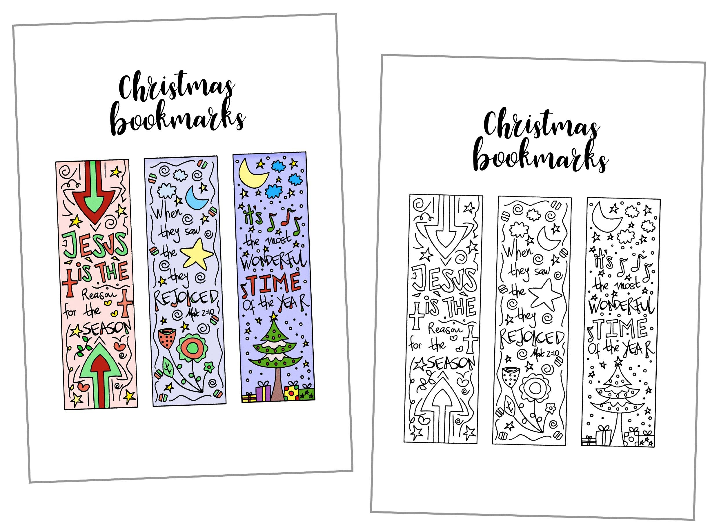 Coloring Christmas Bookmarks Free Printable - Free Printable Baby Bookmarks