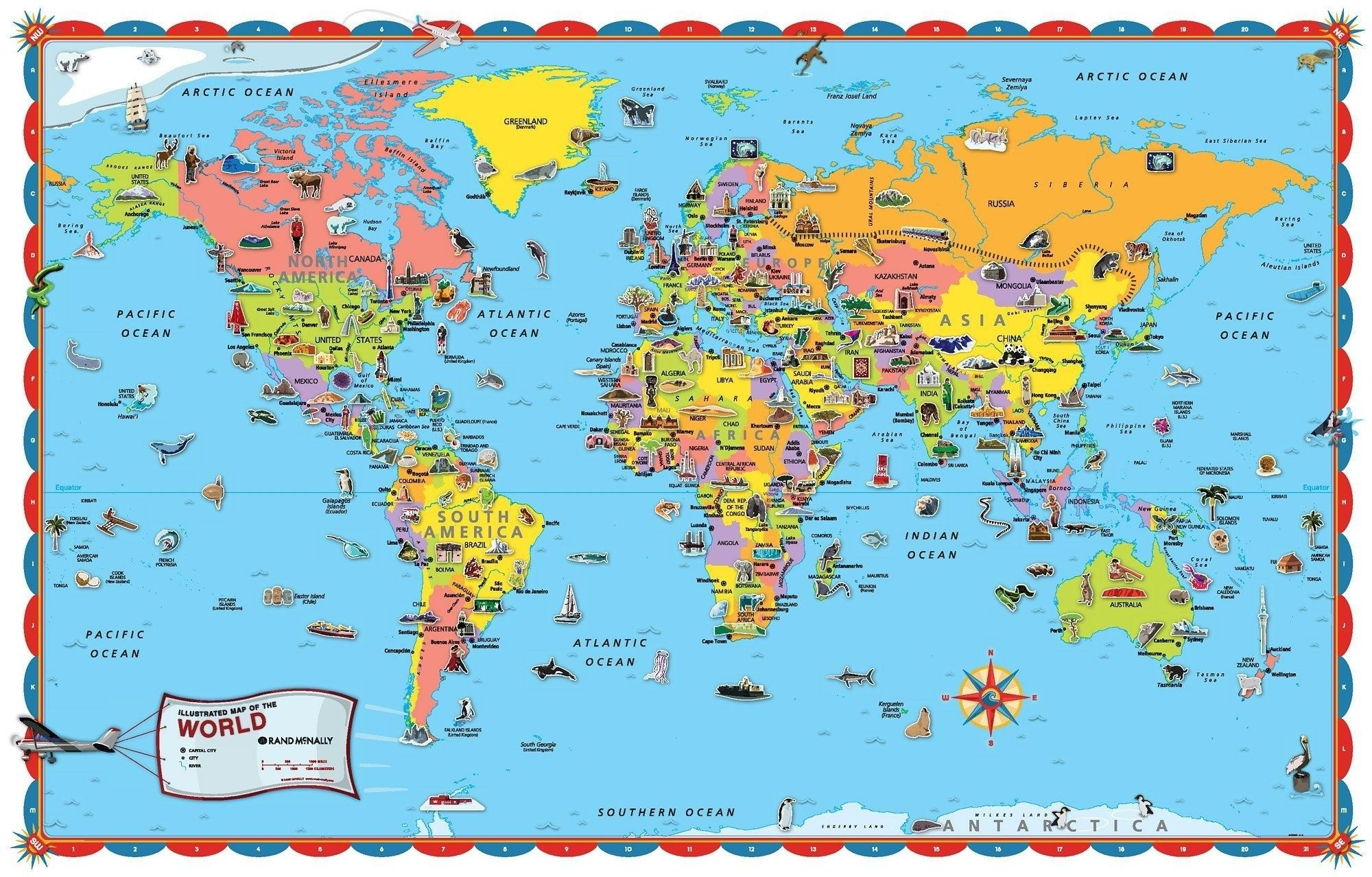Coloring ~ Free Printable World Map For Kids Within Roundtripticket - Free Printable Maps For Kids