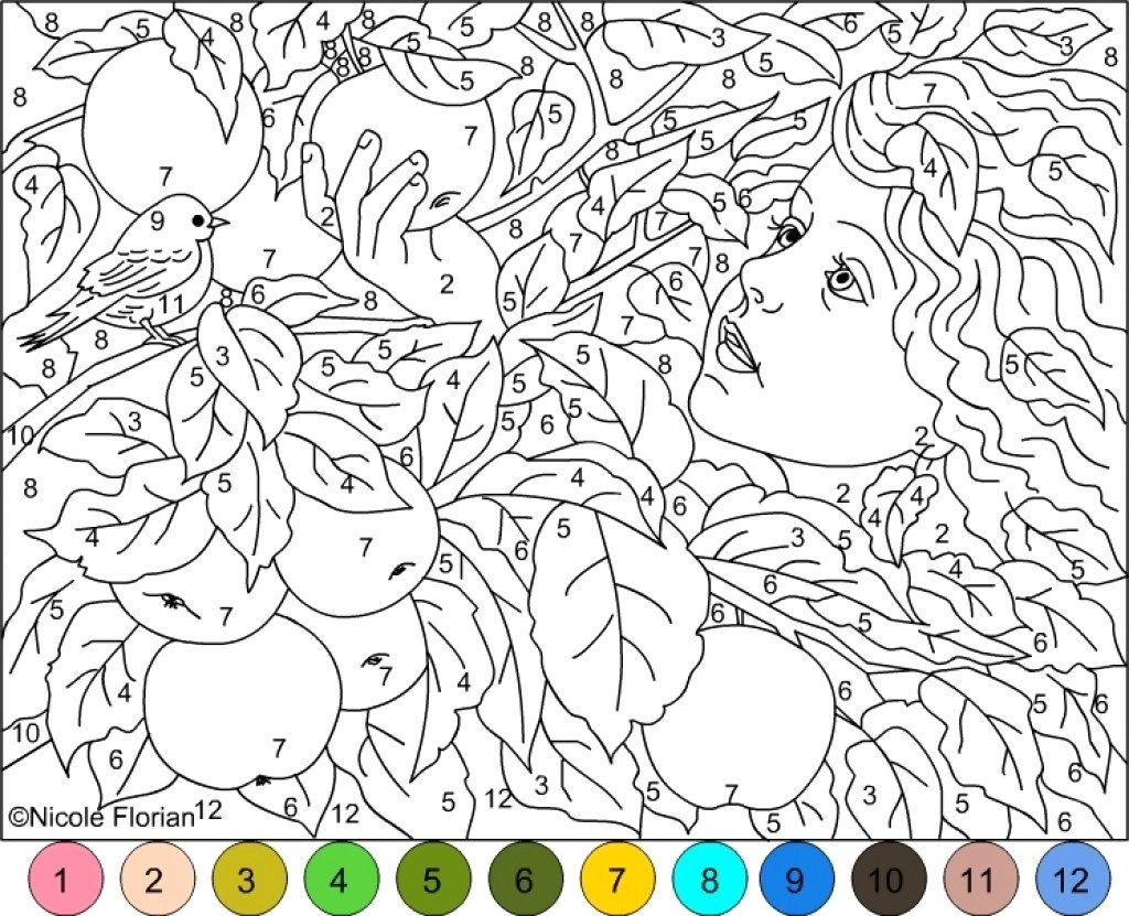 Coloring Page: Phenomenal Colornumber Coloring Pages Free. - Free Printable Color By Number For Adults