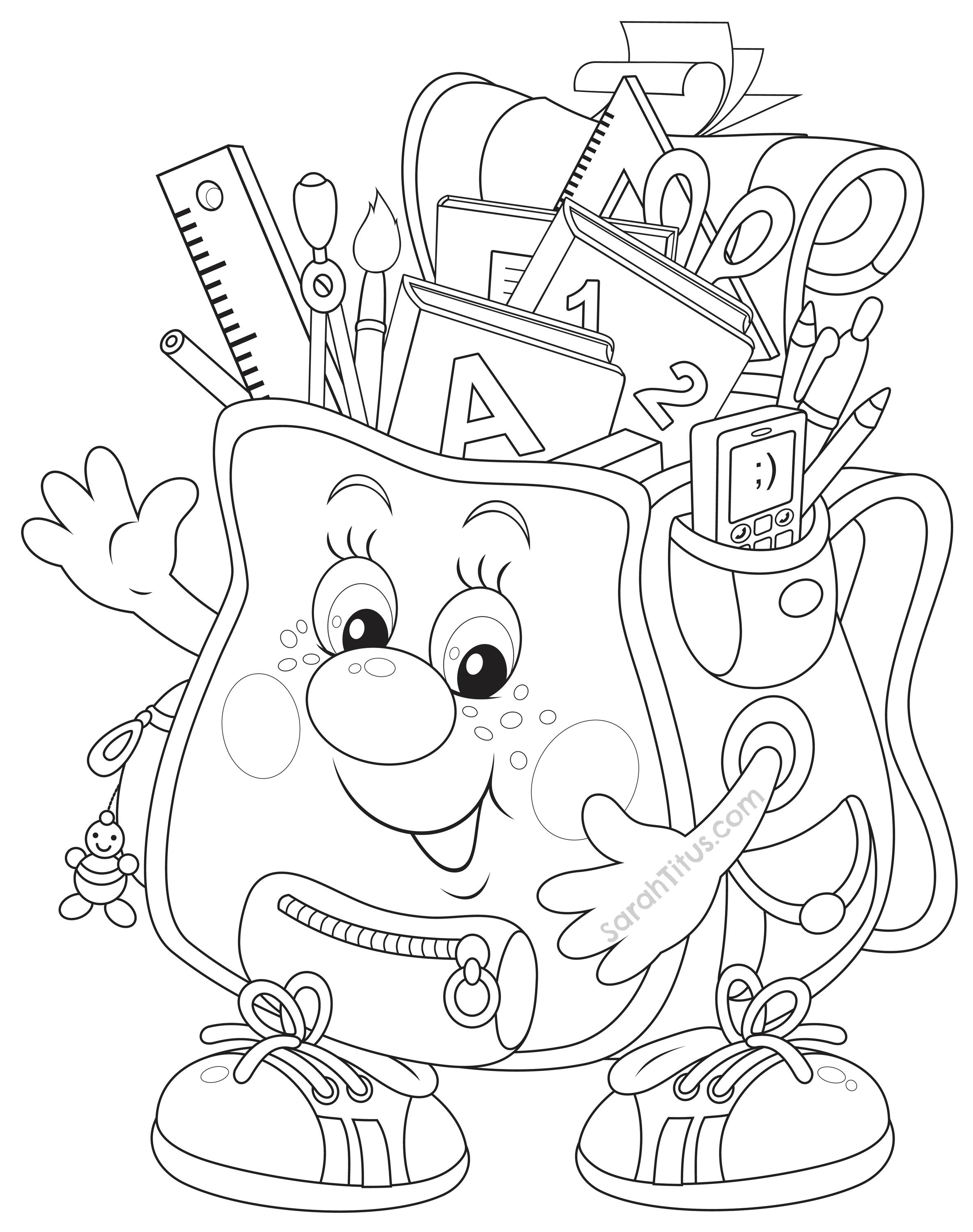 Coloring Pages Back To School Theme Clip | Coloring Pages - Free Printable First Day Of School Coloring Pages