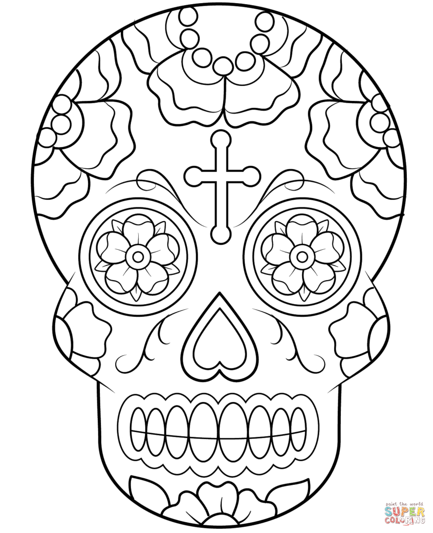 Coloring Pages Ideas: Sugarll Coloring Pages Ideas Free For Adults - Free Printable Sugar Skull Coloring Pages