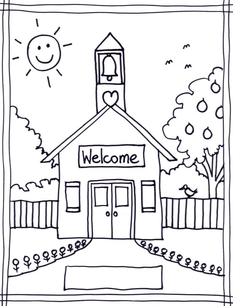 Coloring Pages Of School House | Coloring Pages Wallpaper | Teaching - Back To School Free Printable Coloring Pages