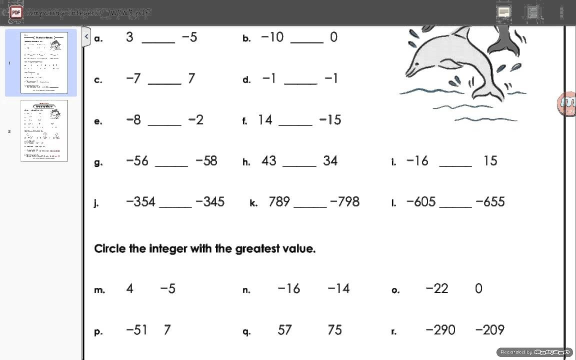 Comparing Integers Worksheet Answers - Youtube - Free Printable Integer Worksheets Grade 7