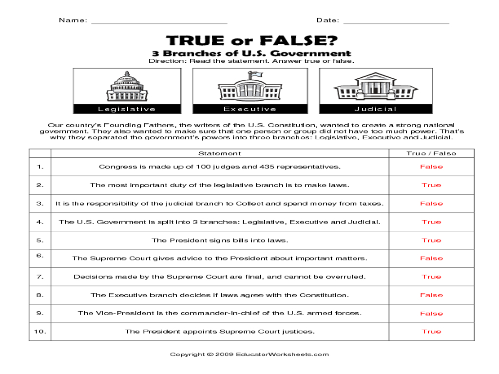 Constitution Worksheets Free 3 Branches Government Worksheet - Free - Free Printable Us Constitution Worksheets