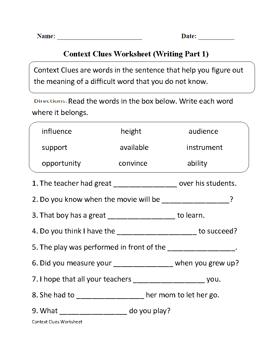 Free Printable 5Th Grade Context Clues Worksheets | Free ...