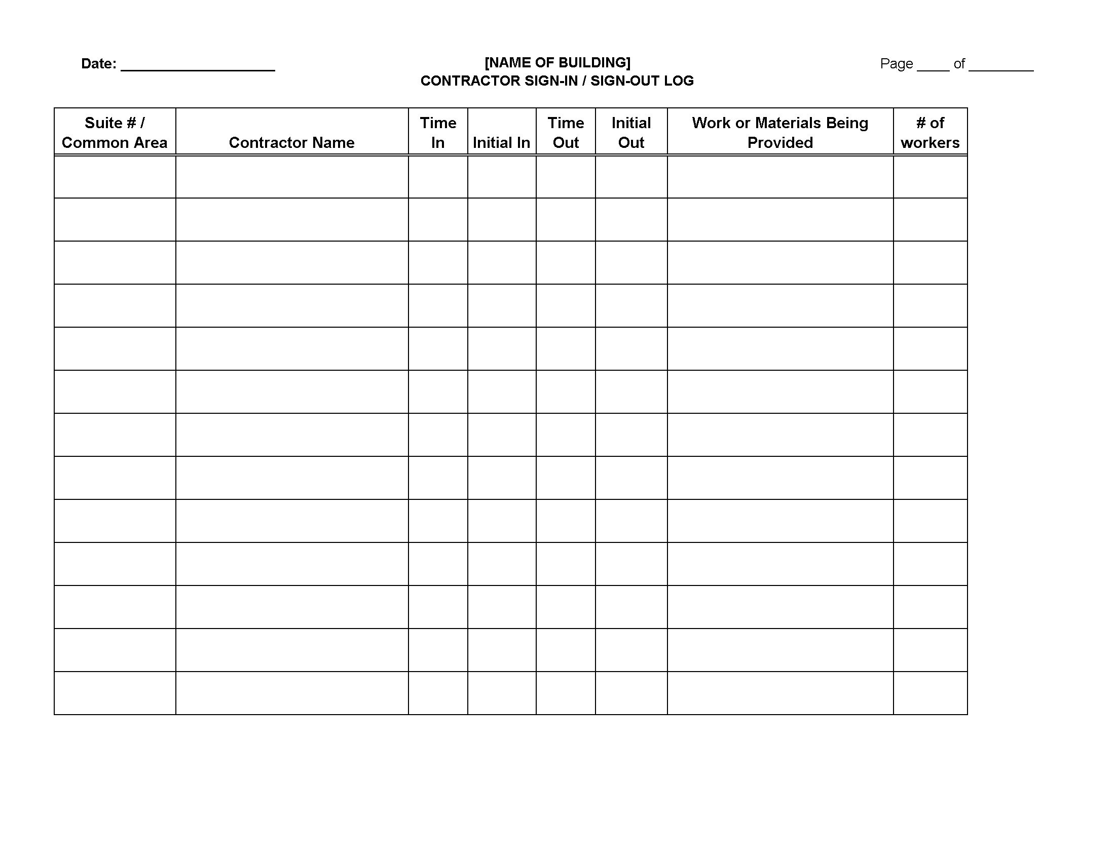 Contractor Sign-In Sign-Out Log Sheet | Legal Forms And Business - Free Printable Sign In And Out Sheets