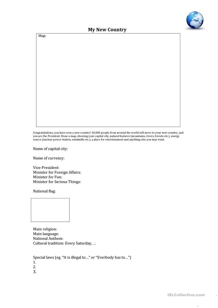 Create Your Own Country! Worksheet - Free Esl Printable Worksheets - Make Your Own Worksheets Free Printable