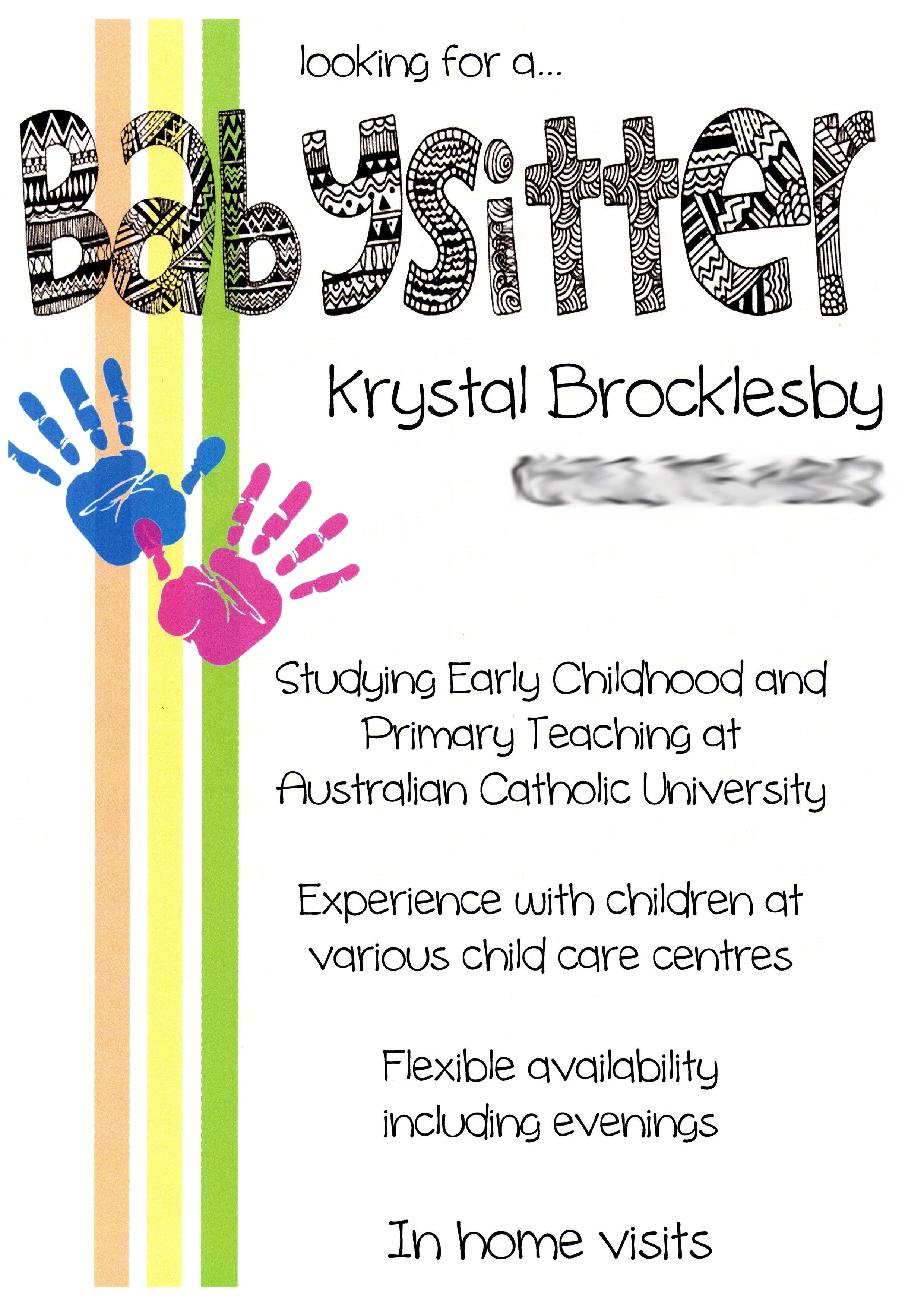 Creative, Cute Babysitting Flyers | Babysitting Flyers | Babysitting - Free Printable Home Daycare Flyers