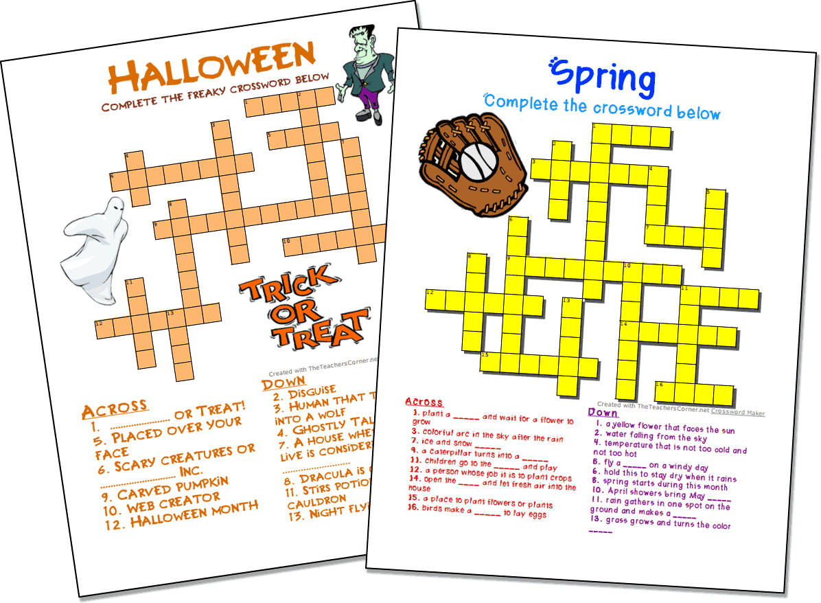 Crossword Puzzle Maker | World Famous From The Teacher's Corner - Crossword Maker Free Printable