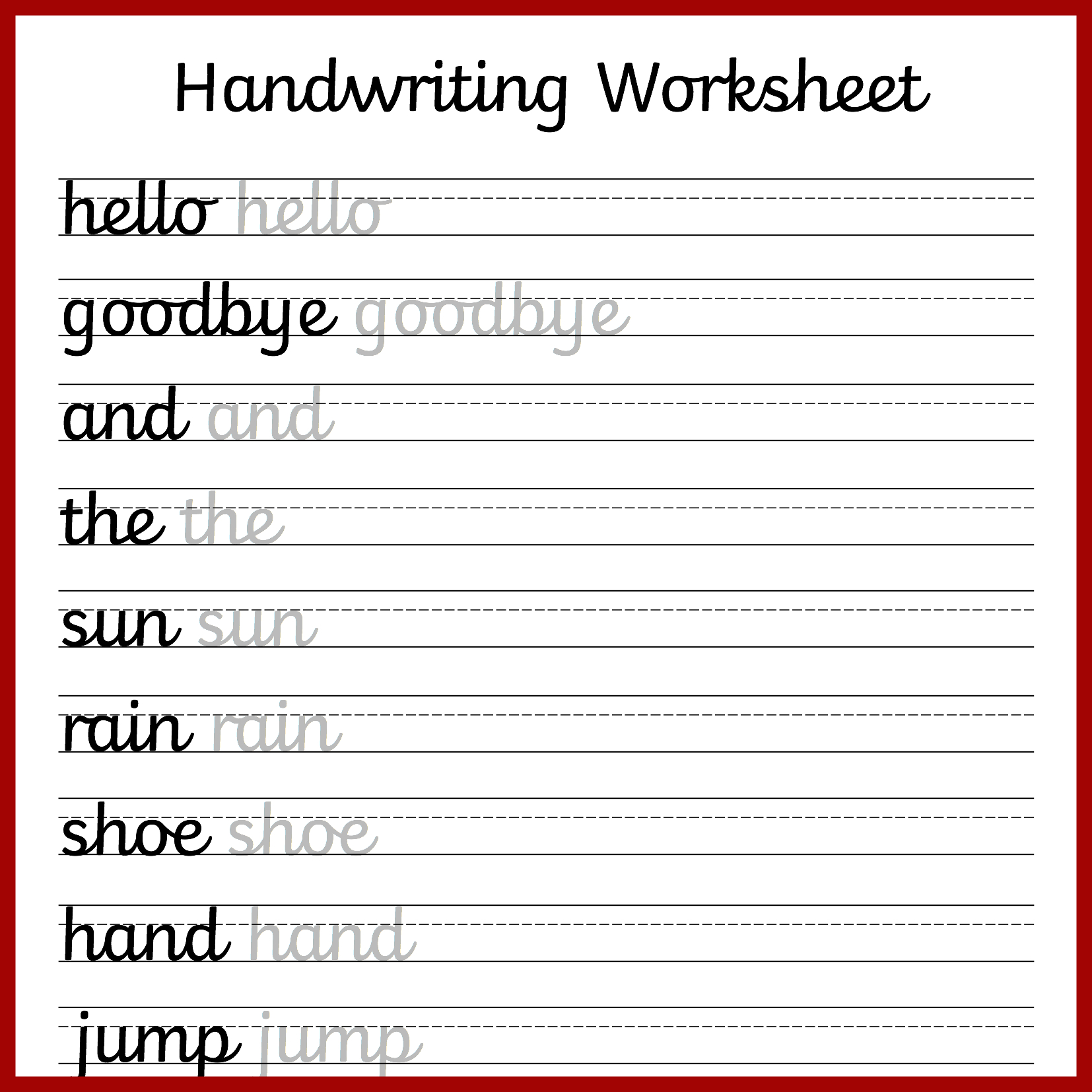 Cursive Handwriting Worksheets – Free Printable! ⋆ Mama Geek - Free Printable Handwriting Sheets For Kindergarten