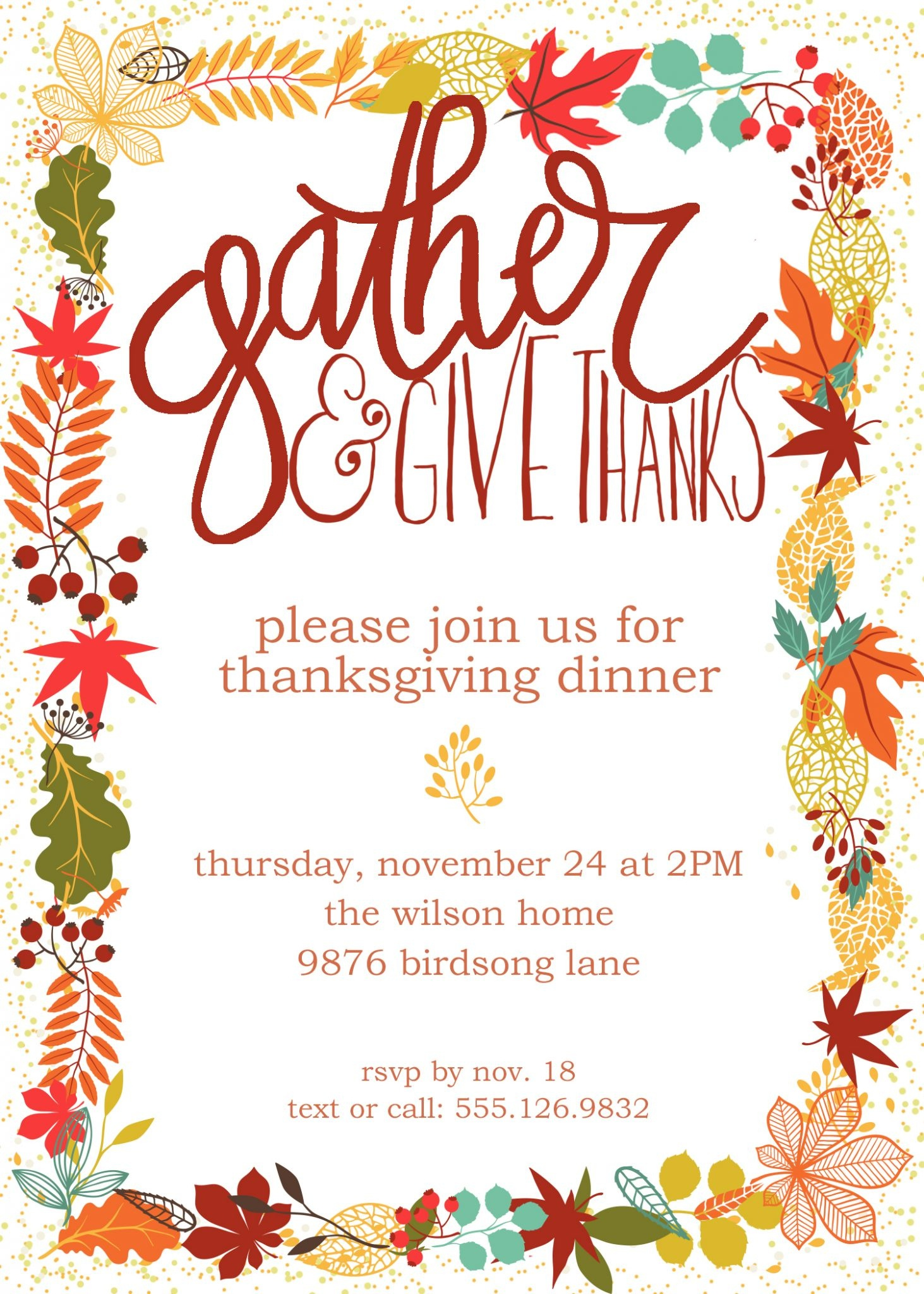 Customizable Thanksgiving Invitation | Free Printable - Free Printable Invitations