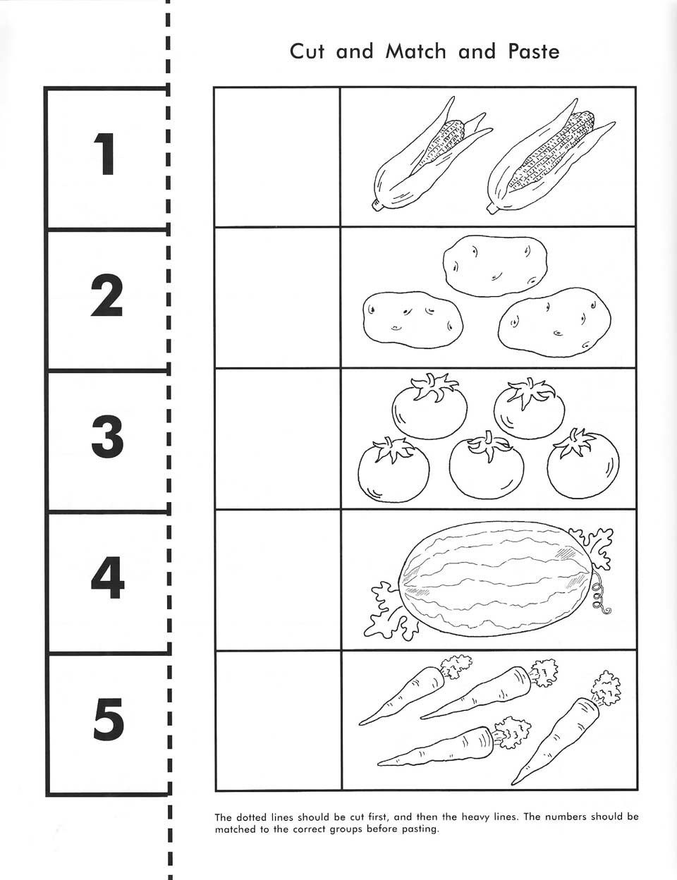 Cut, Count, Match And Paste / Free Printable | Pre-K Math - Free Printable Classroom Worksheets