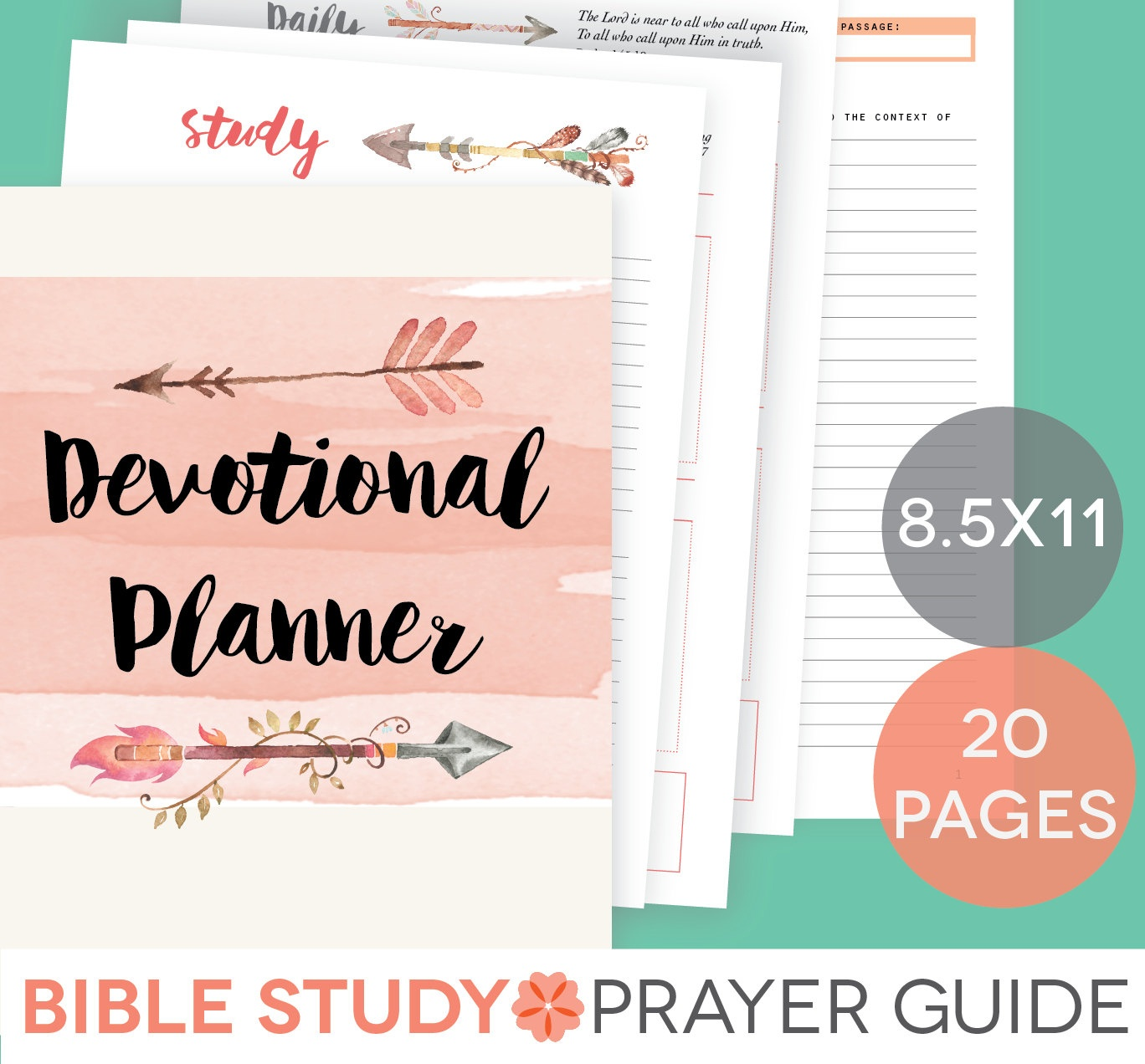 Daily Devotional Printable Set Weekly Bible Study Guide   Etsy - Free Printable Bible Study Guides