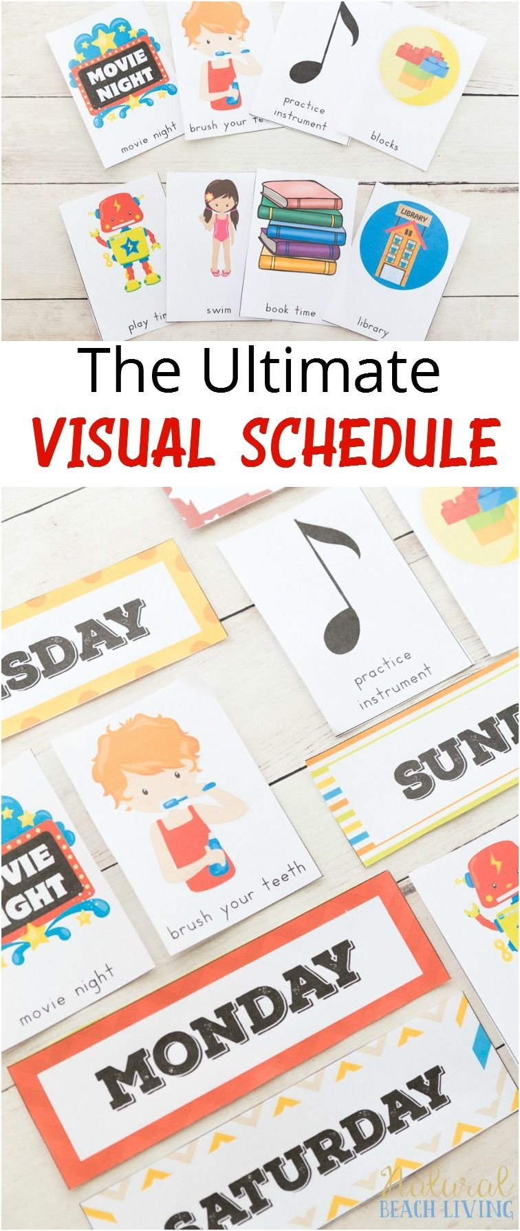 Daily Visual Schedule For Kids Free Printable | Little Ones | Visual - Free Printable Picture Schedule Cards