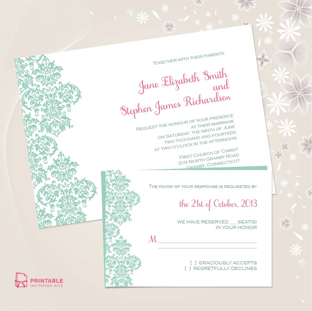 Damask Border Invitation And Rsvp Set ← Wedding Invitation - Free Printable Wedding Invitation Kits