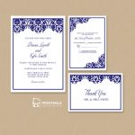 Damask Frame Wedding Invitation Templates – Set ← Wedding   Free Printable Wedding Invitation Kits