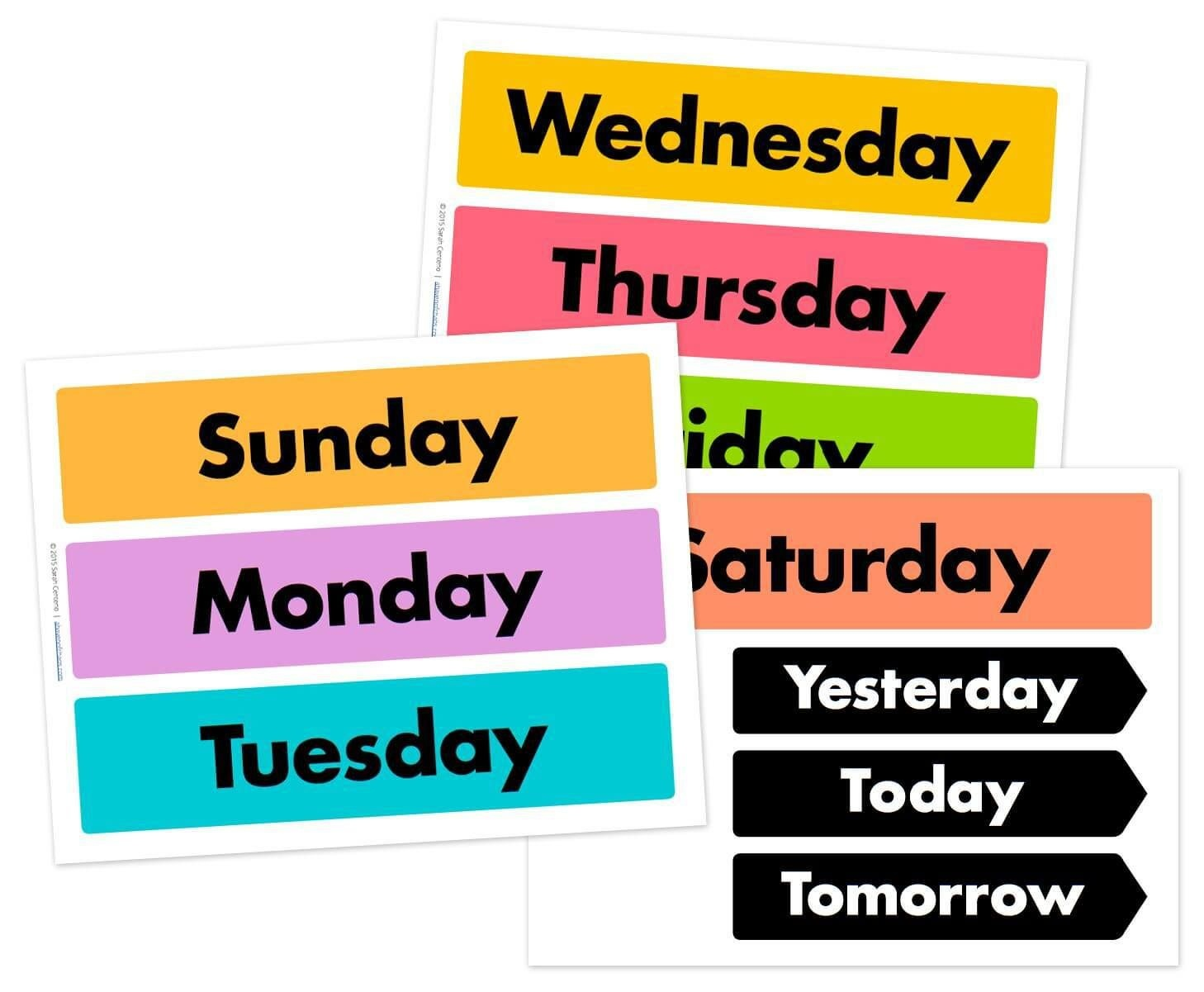 Days Of The Week Printable Free | Free Calendar Cards And Monthly - Free Printable Days Of The Week