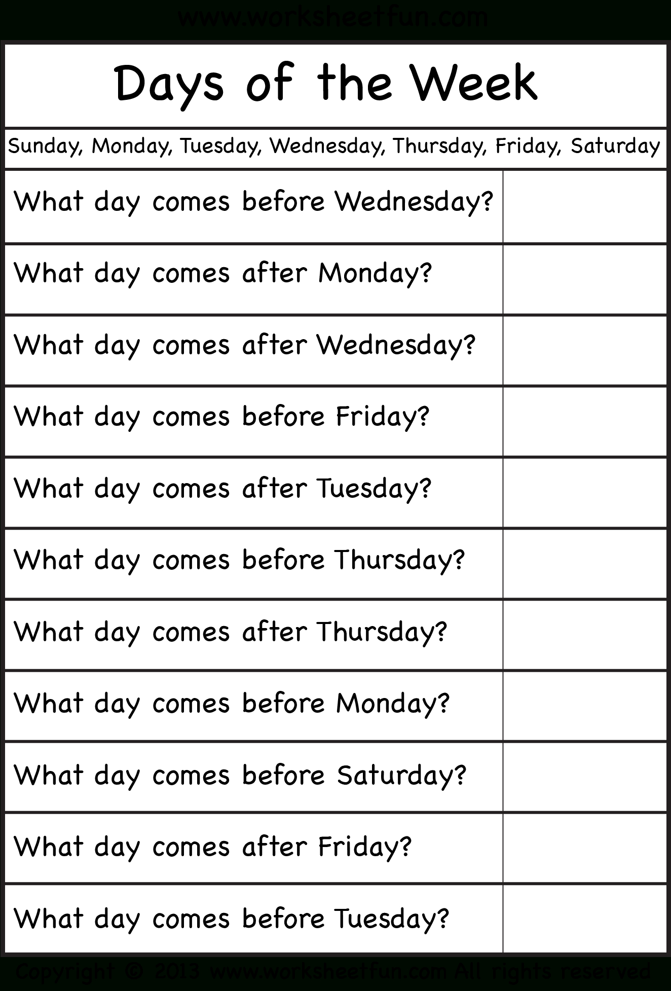 Days Of The Week – Worksheet / Free Printable Worksheets – Worksheetfun - Free Printable Days Of The Week
