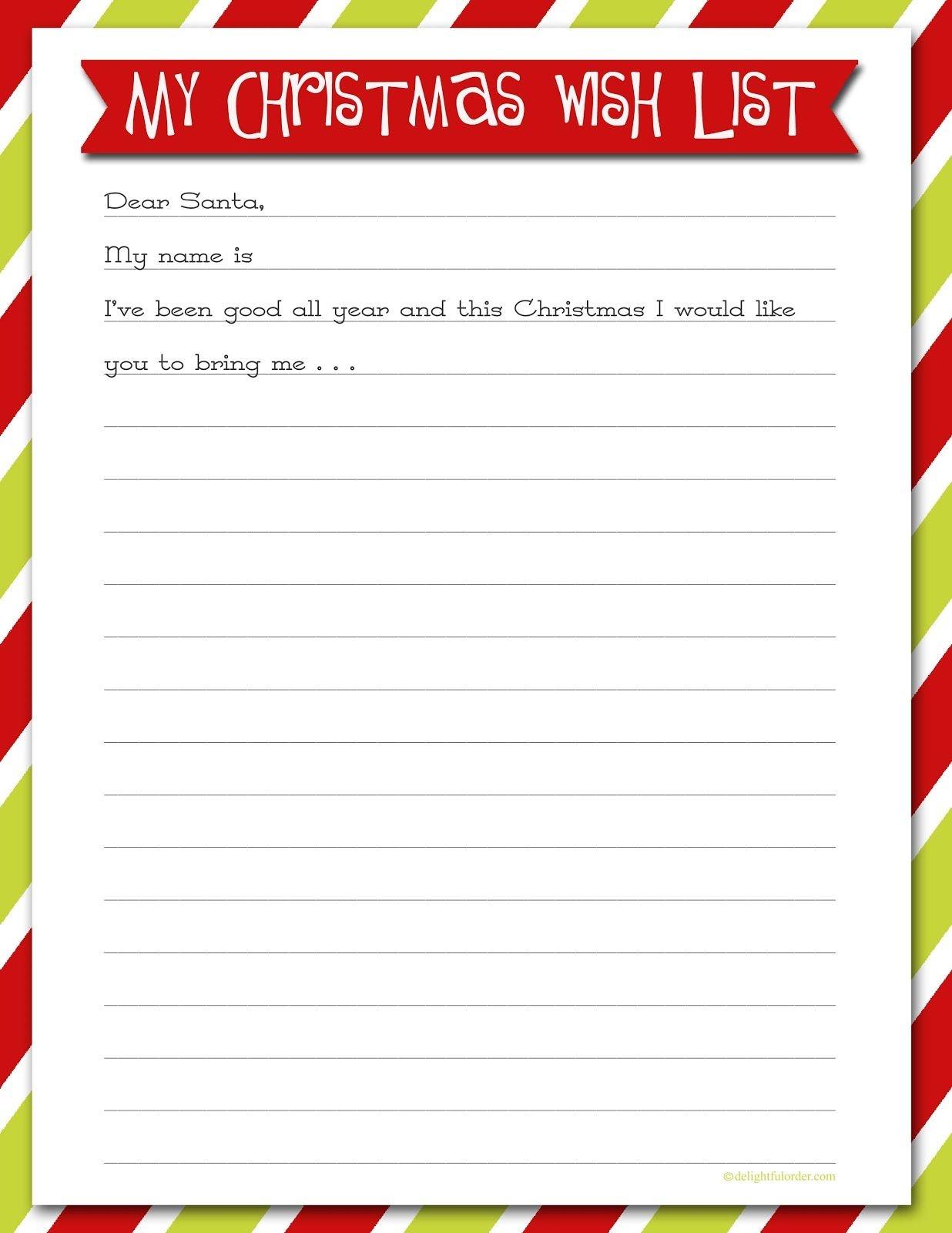 Delightful Order: Christmas Wish List - Free Printable | Delightful - Free Printable Christmas List Maker