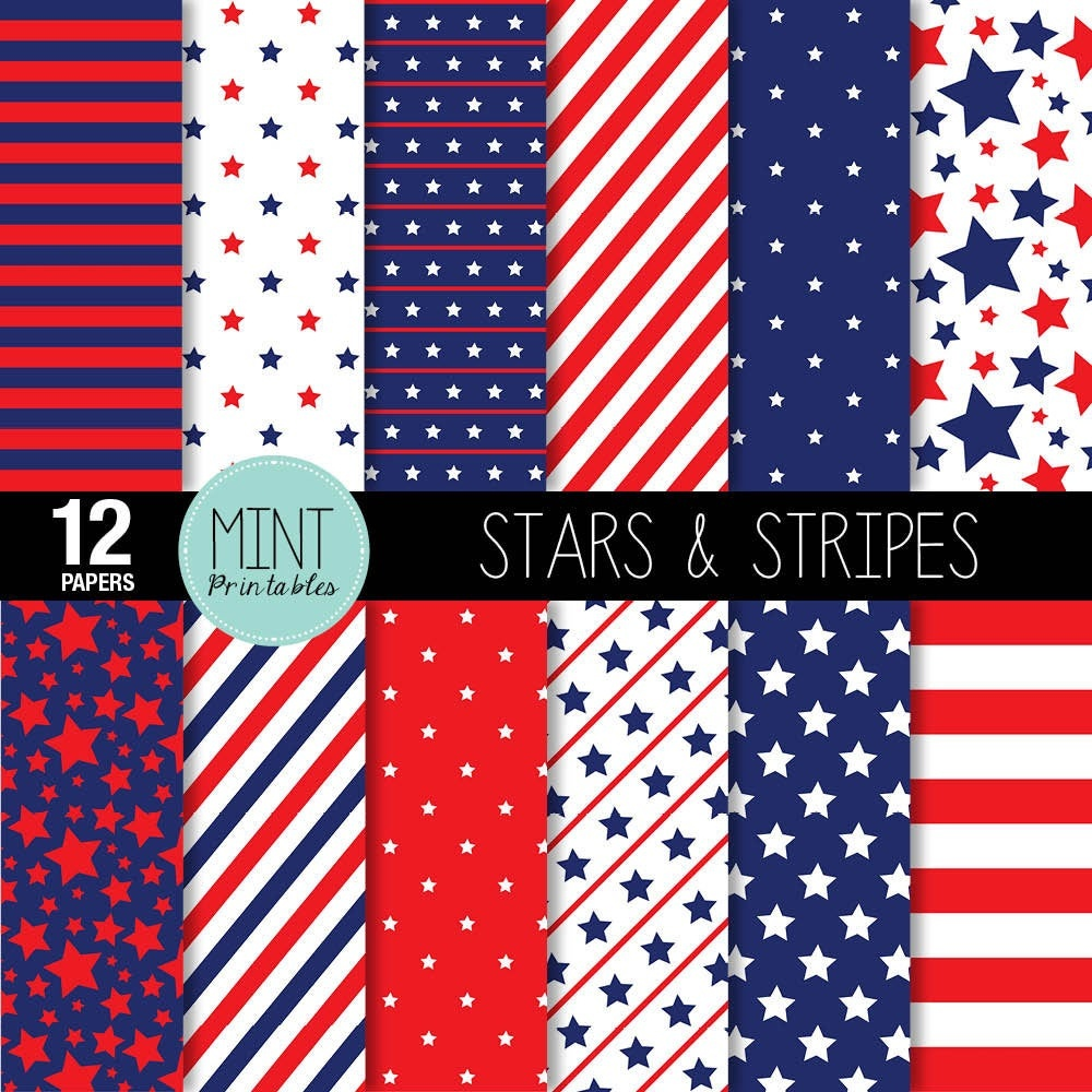 Digital Paper Stars And Stripes Scrapbooking Papers | Etsy - Free Printable Patriotic Scrapbook Paper
