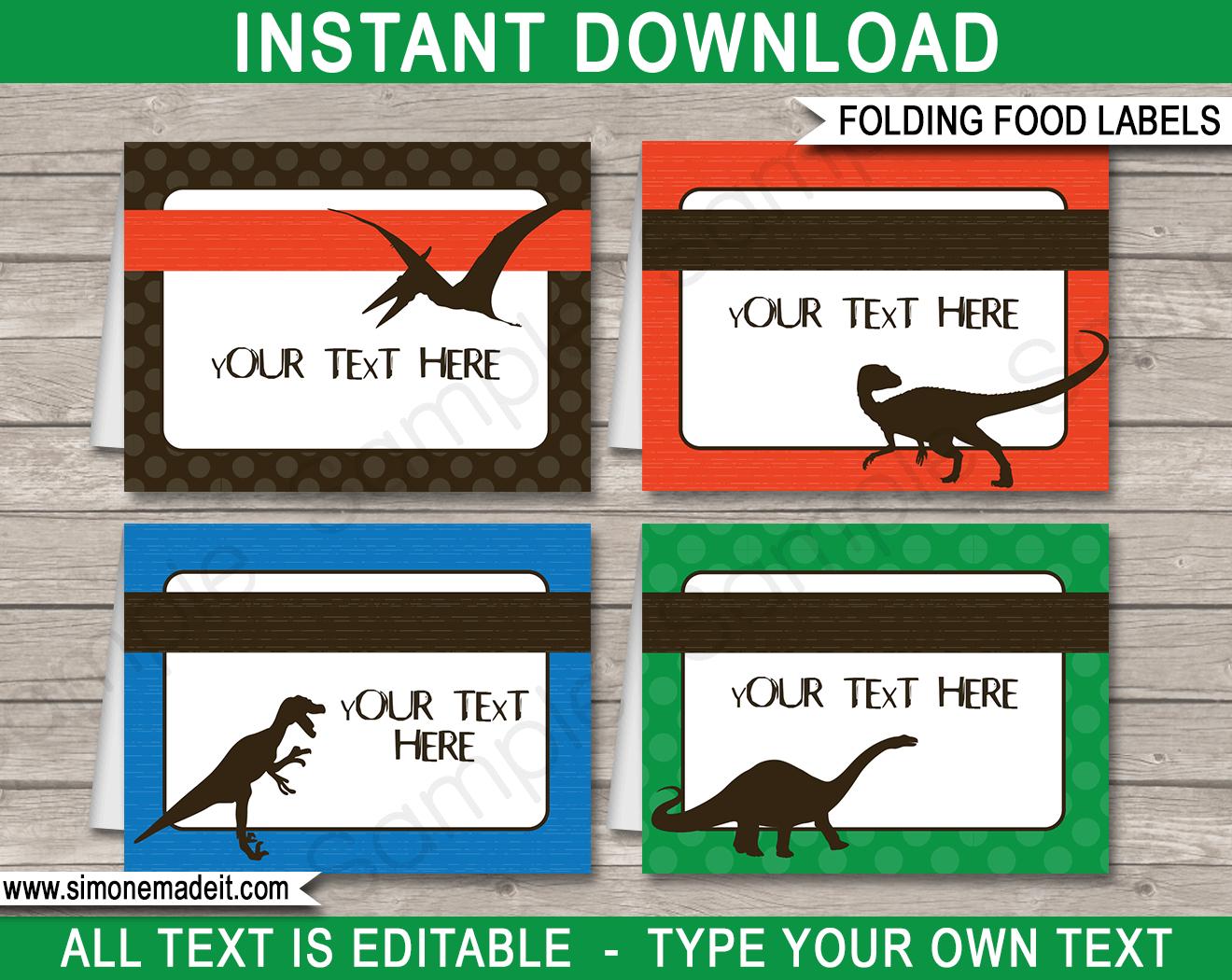 Dinosaur Theme Food Labels | Place Cards | Dinosaur Birthday Party - Free Printable Dinosaur Labels