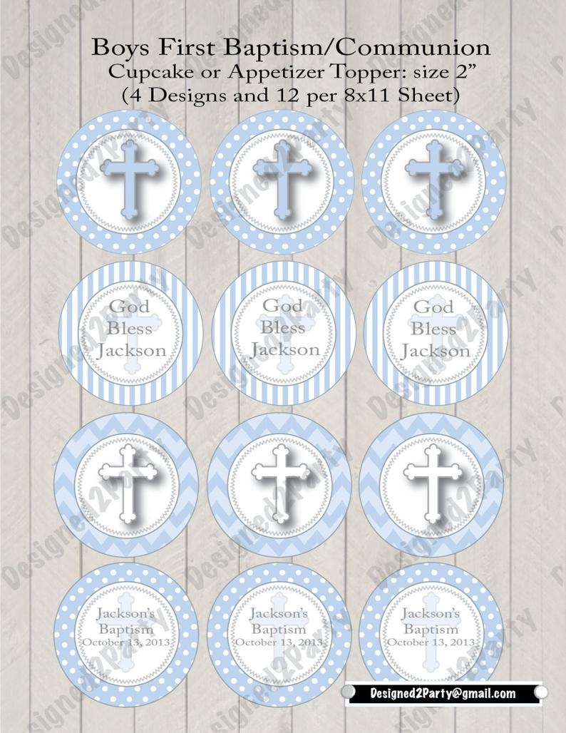 Diy Boys First Communion Printable Or Baptism Cupcake Topper | Etsy - Free Printable First Communion Cupcake Toppers
