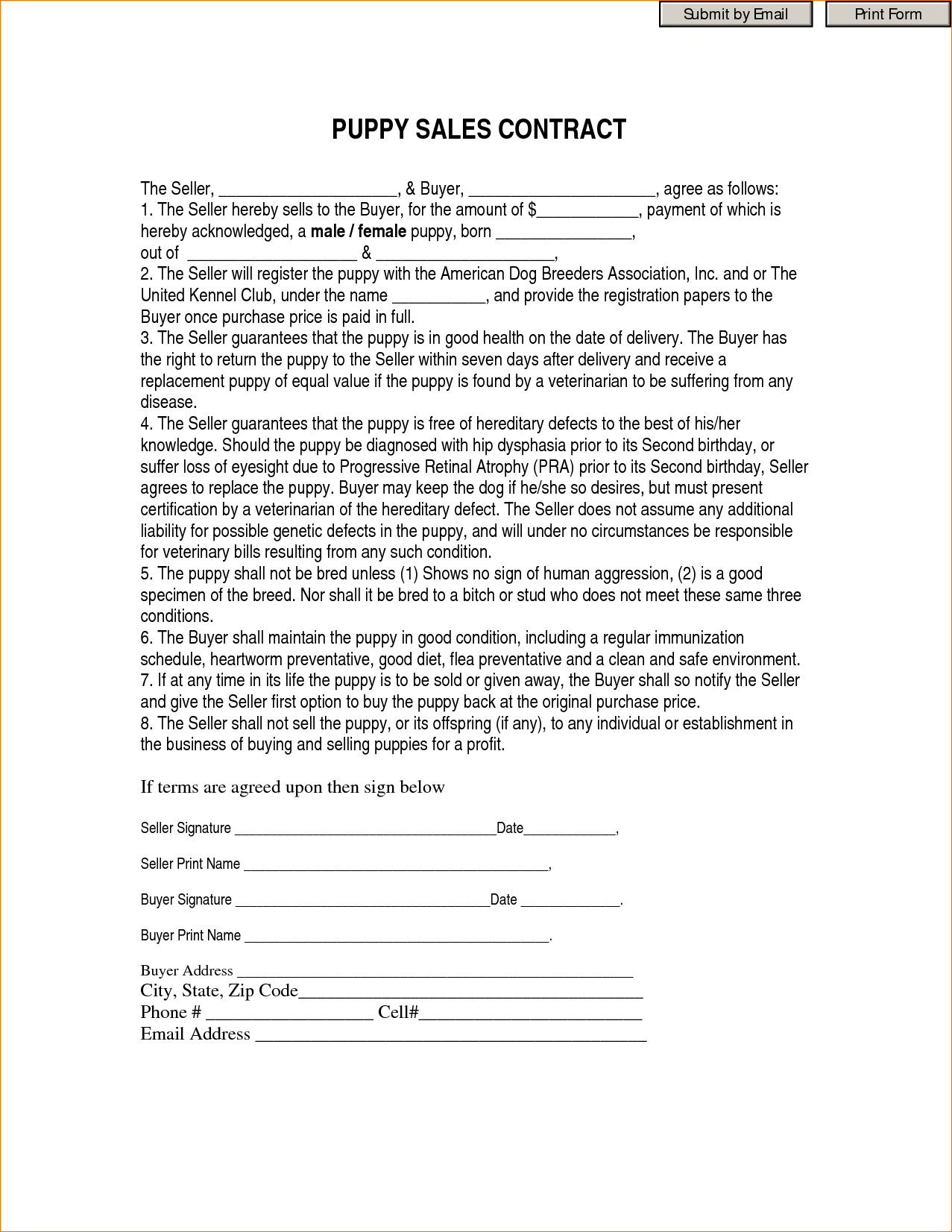 Dog Walking Agreement Form 111116 Contract Puppy Sales Contract Form - Free Printable Puppy Sales Contract