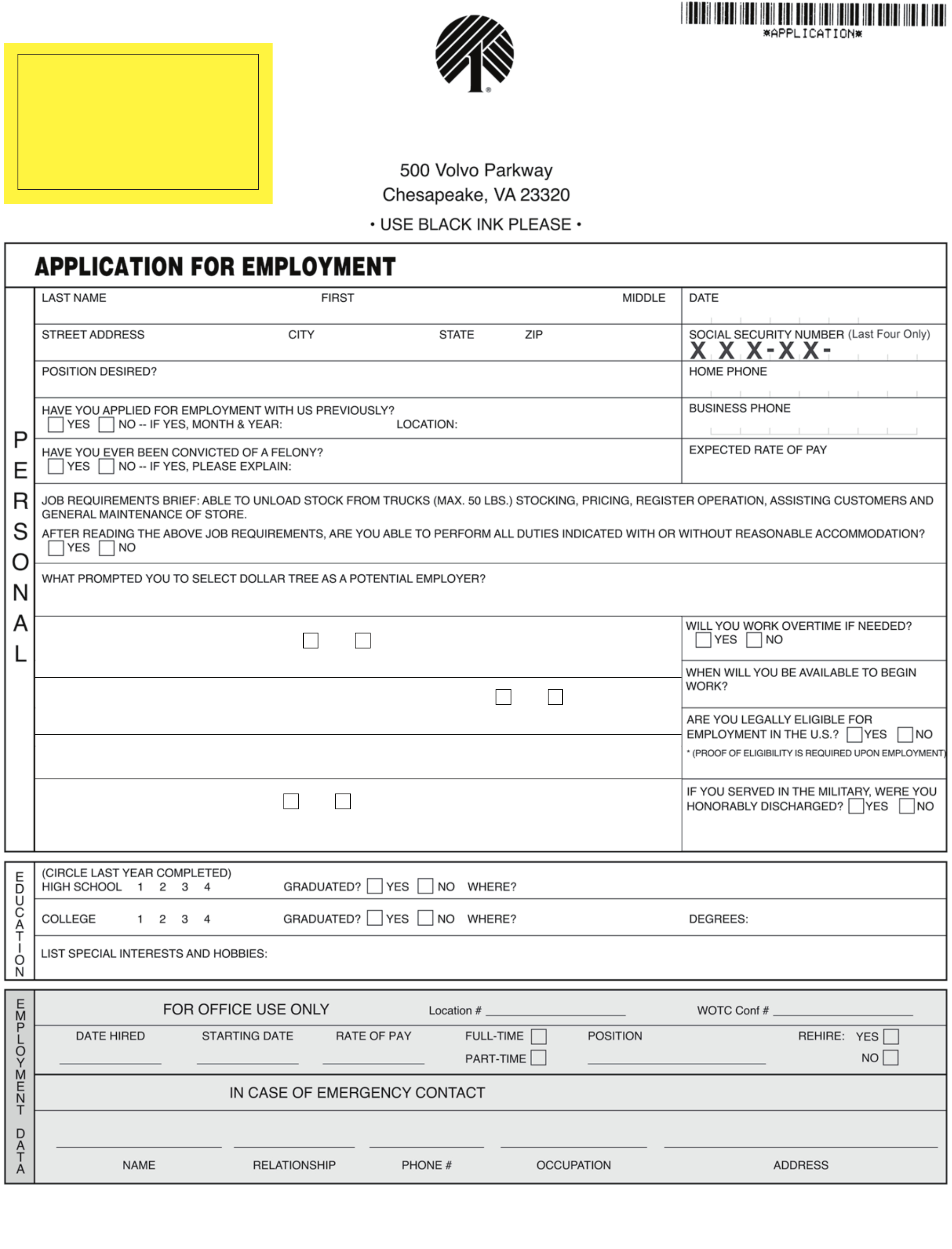 Dollar Tree Job Application Dollar Tree Job Application Form To - Free Printable Dollar Tree Application Form