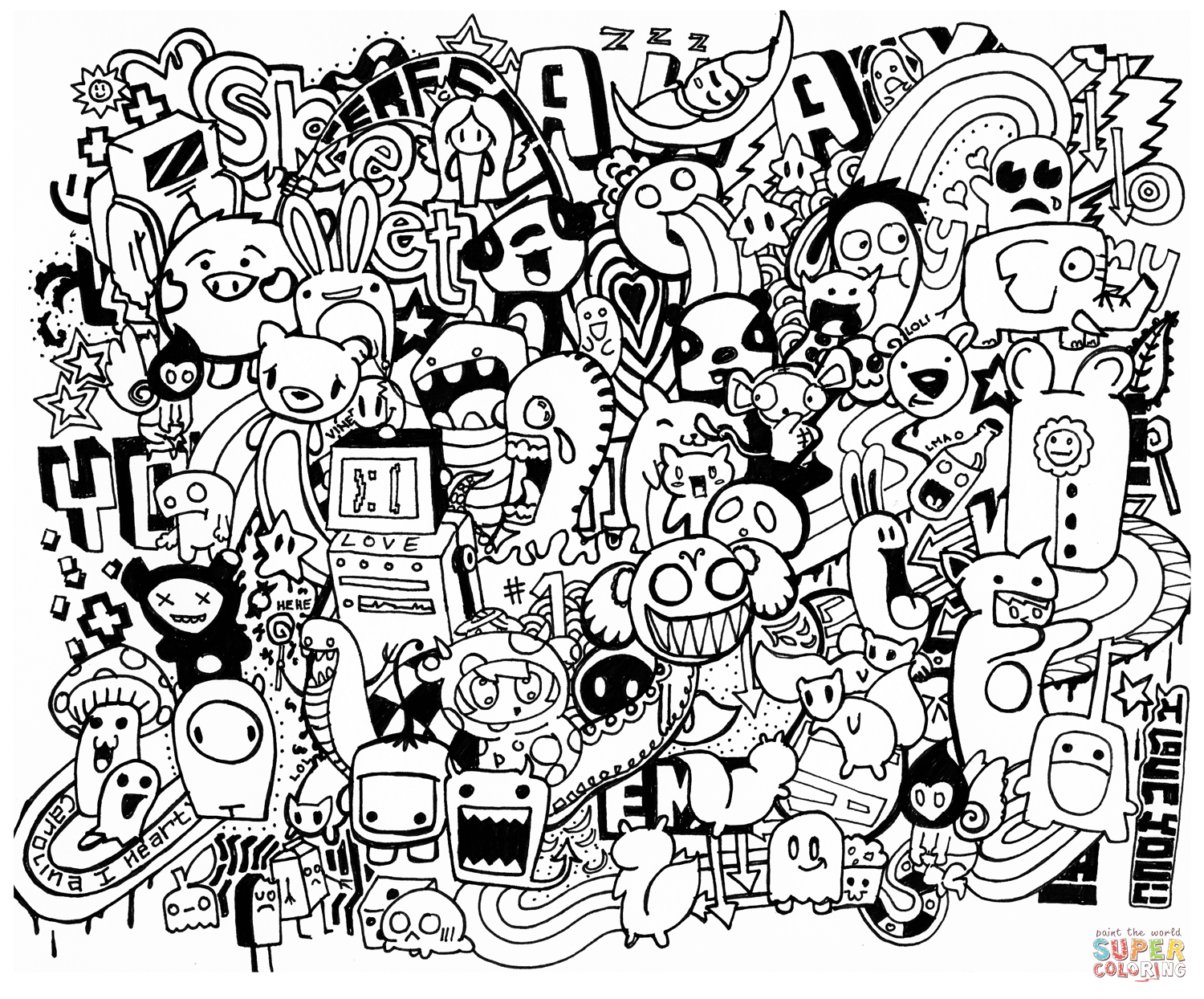 Doodle Mash Up Coloring Page | Free Printable Coloring Pages - Free Printable Doodle Art Coloring Pages