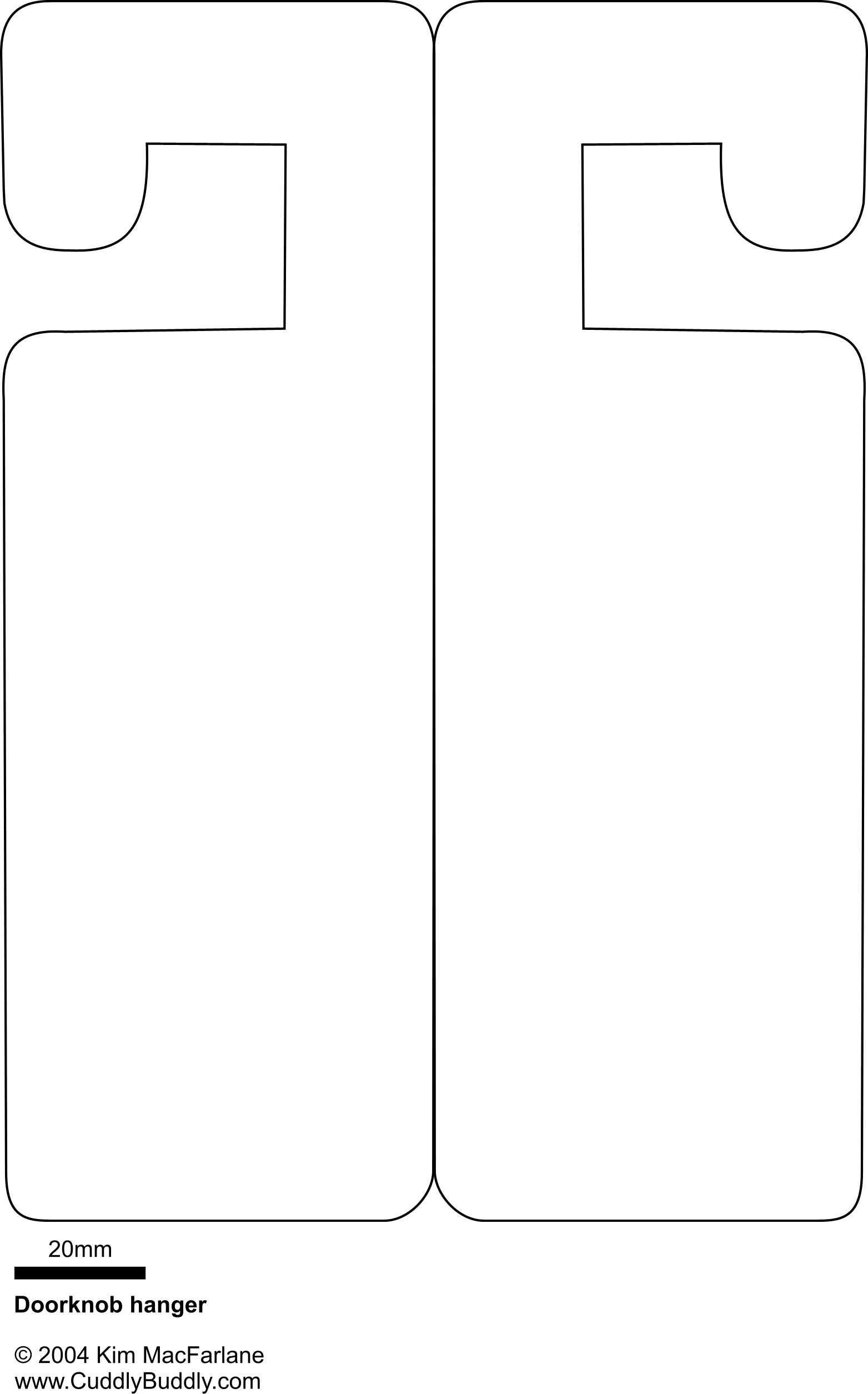 Door Hanger Template - You Will Have To Have The Door Closed To - Free Printable Door Knob Hanger Template