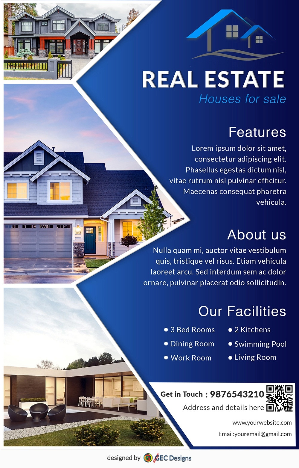Download Free House For Sale Real Estate Flyer Design Templates - Free Printable Real Estate Flyer Templates
