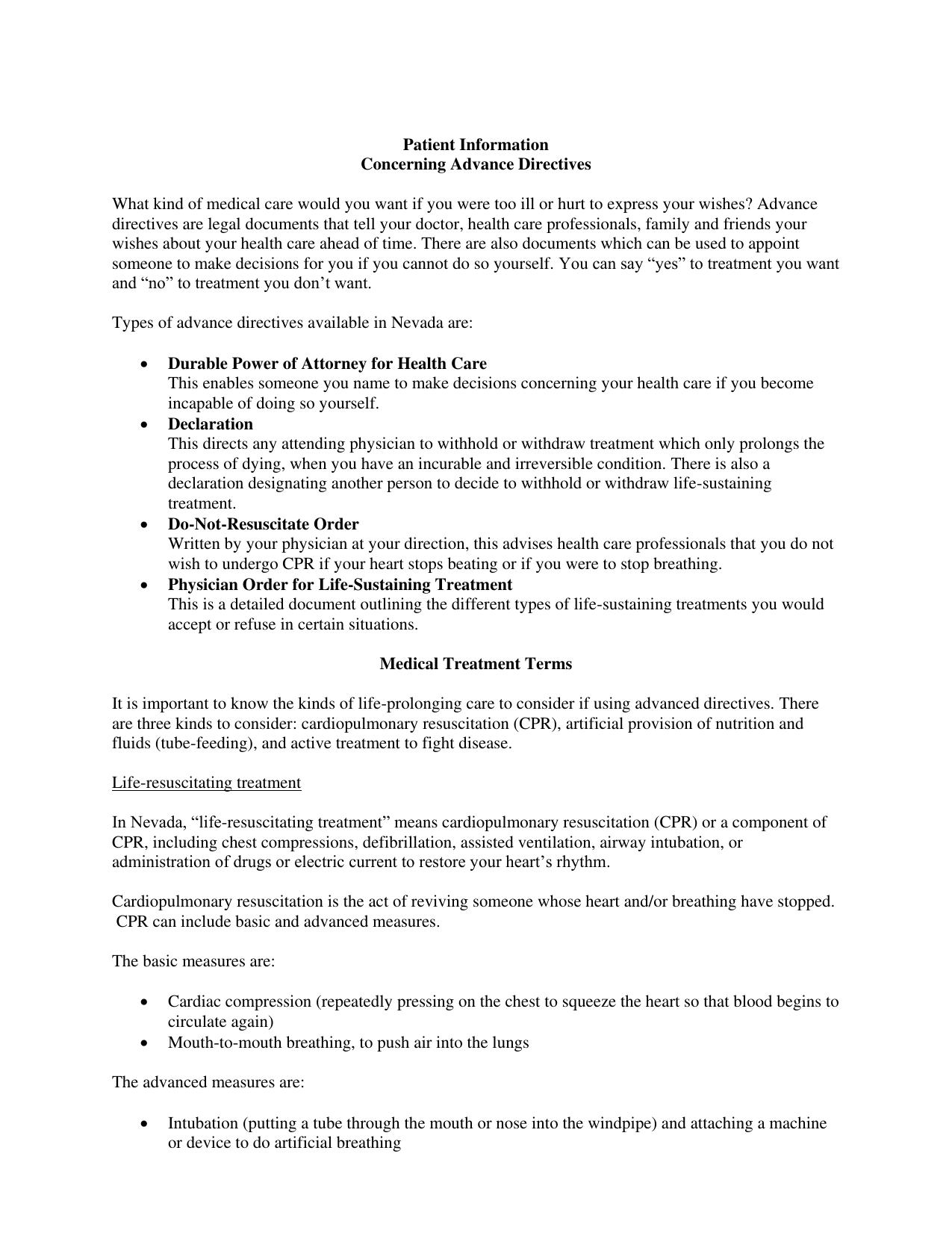 Download Nevada Living Will Form – Advance Directive | Pdf - Free Printable Advance Directive Form