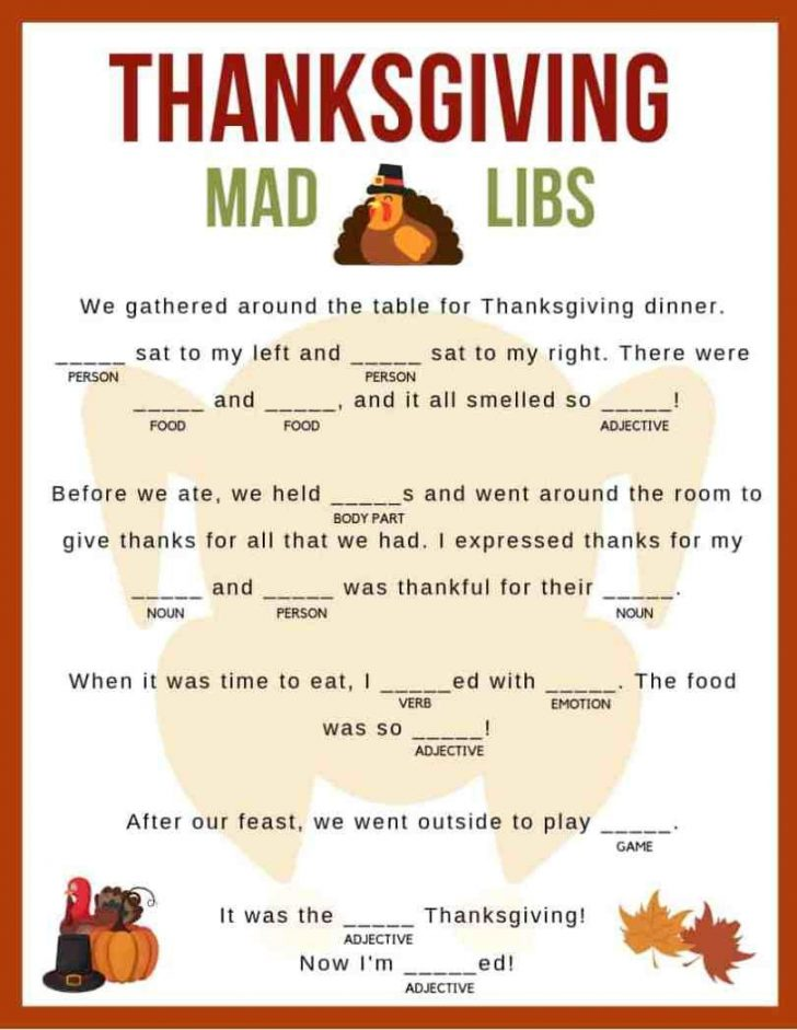 Free Printable Thanksgiving Mad Libs