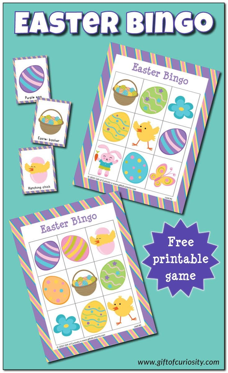 Easter Bingo Game {Free Printable} | Gift Of Curiosity | Easter - Free Printable Religious Easter Bingo Cards