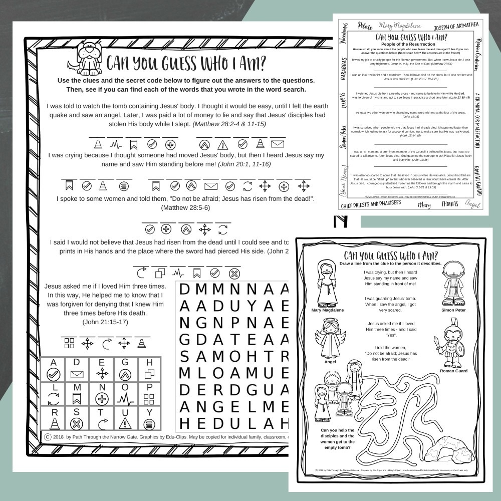 Easter Worksheets - Path Through The Narrow Gate - Free Printable Easter Sermons