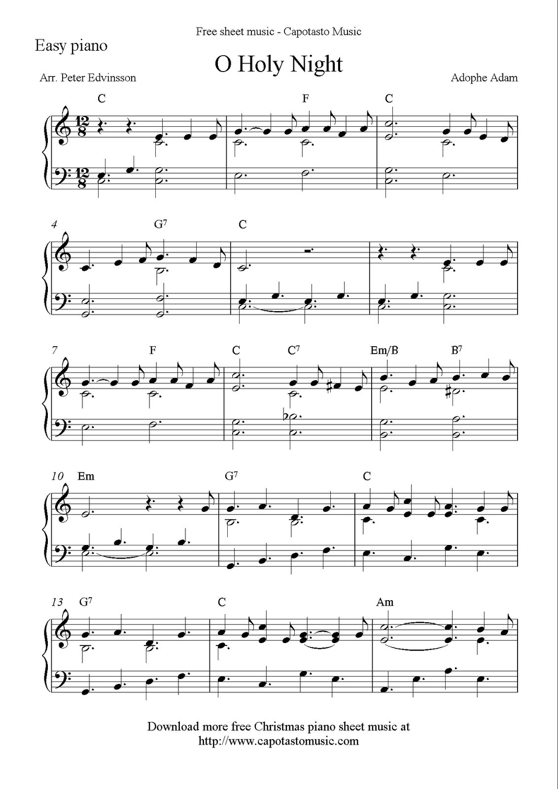 Easy Piano Solo Arrangementpeter Edvinsson Of The Christmas - Free Christmas Piano Sheet Music For Beginners Printable