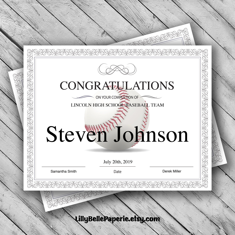 Editable Baseball Certificate Template - Printable Certificate - Free Printable Baseball Certificates