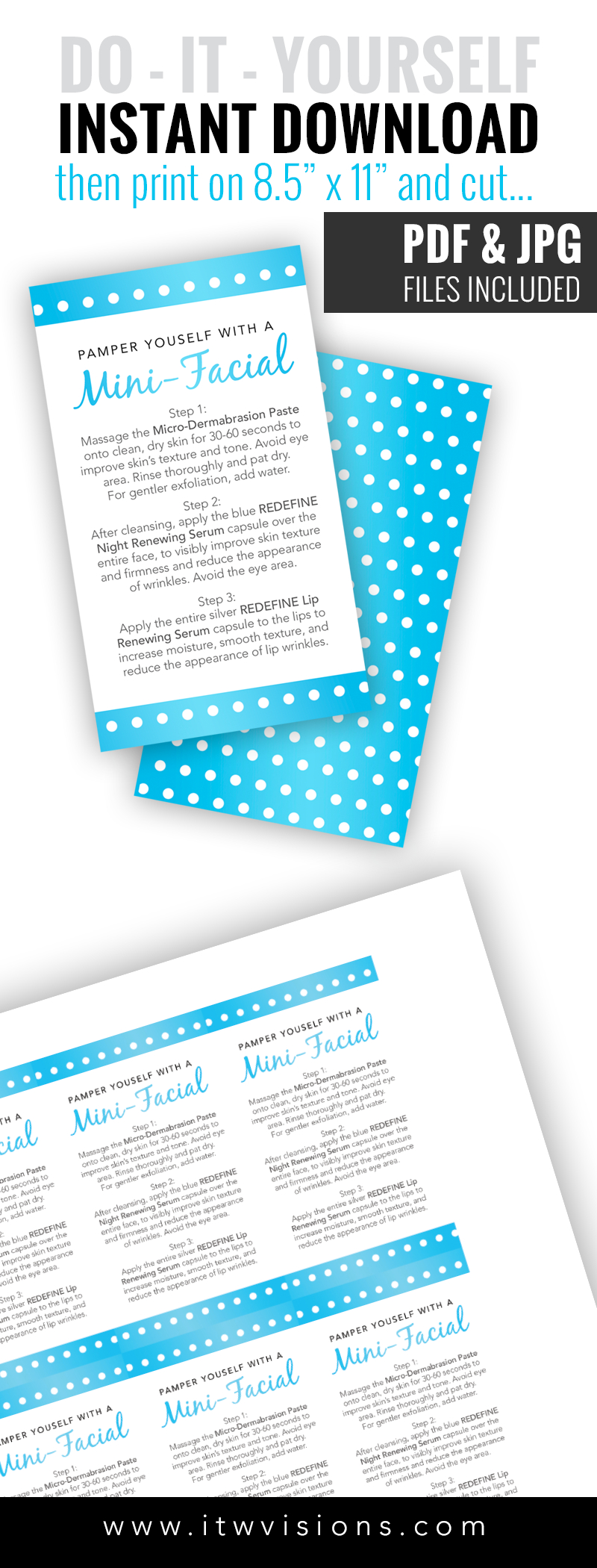 Editable Pdf - Mini-Facial Card - Blue Pearl - Instant Download - Rodan And Fields Mini Facial Instructions Printable Free